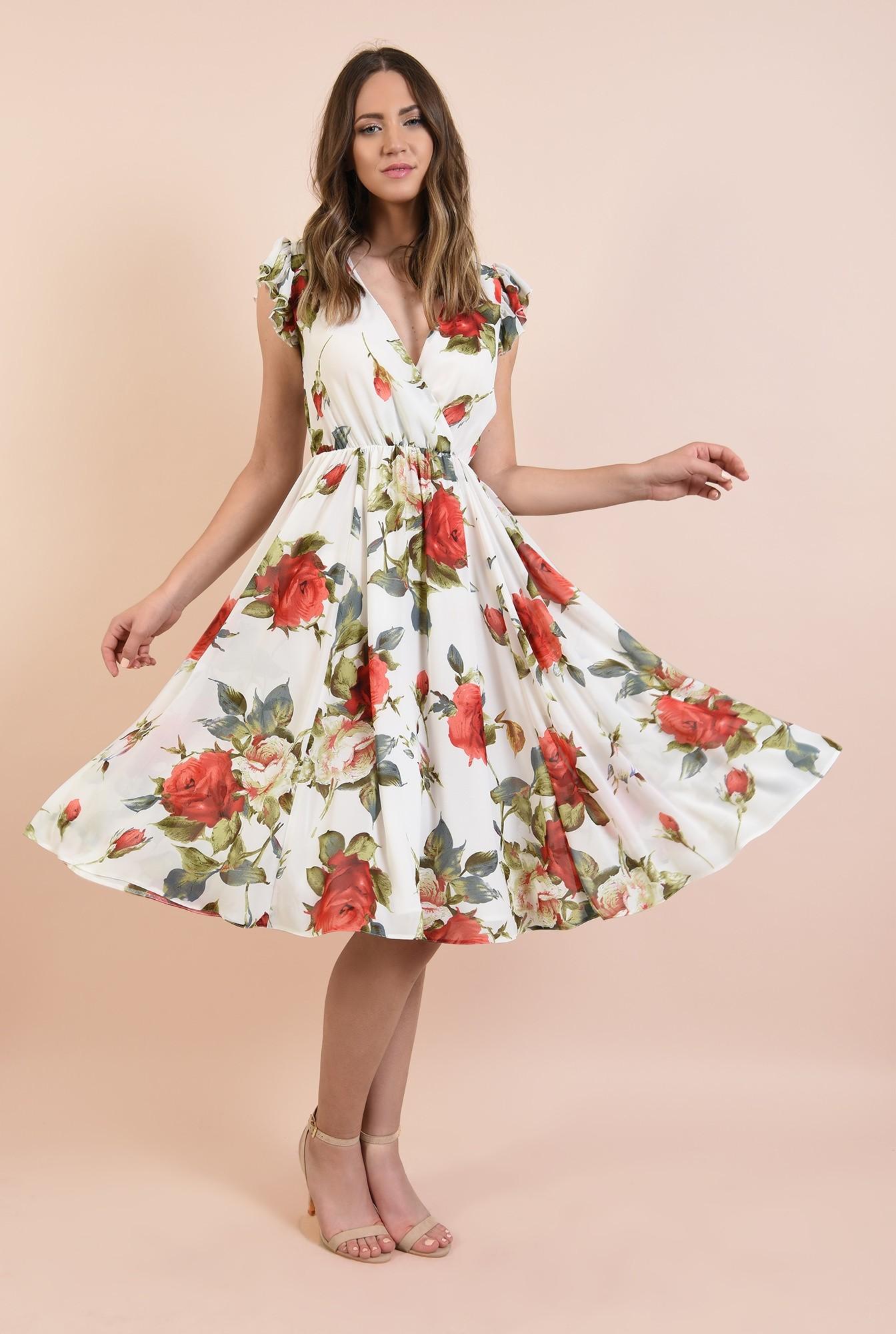 3 - rochie cu flori, de vara, midi, clos, elastic la talie, maneci tip volan