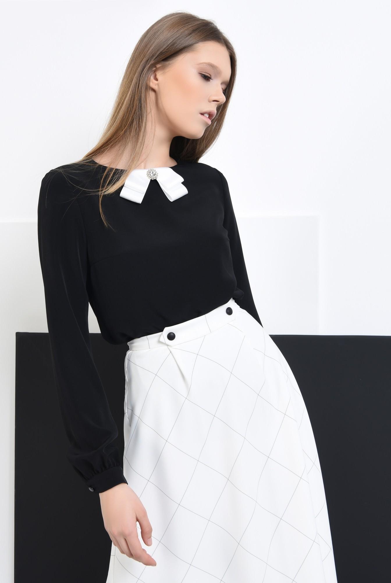 0 - Bluza din sifon, contrast, maneci lungi