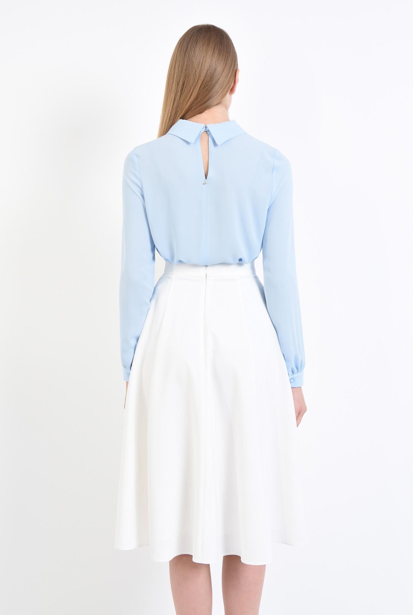 1 - bluza casual, din sifon, bleu