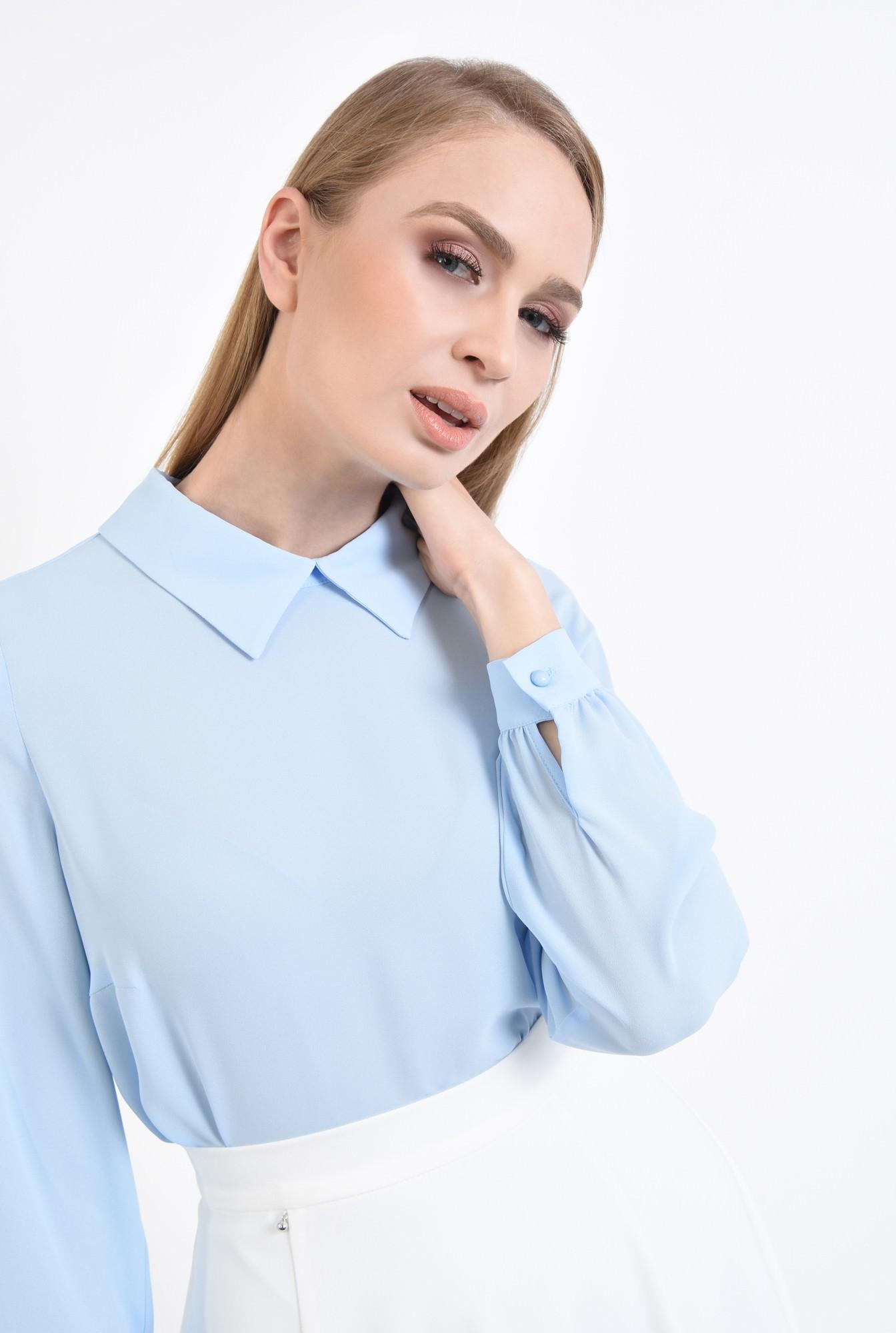 2 - bluza casual, din sifon, bleu