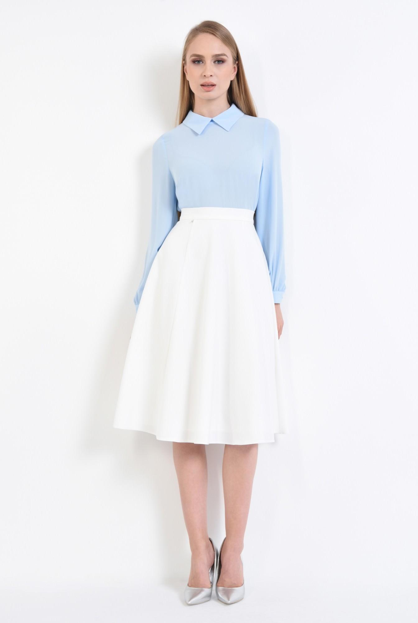 3 - bluza casual, din sifon, bleu