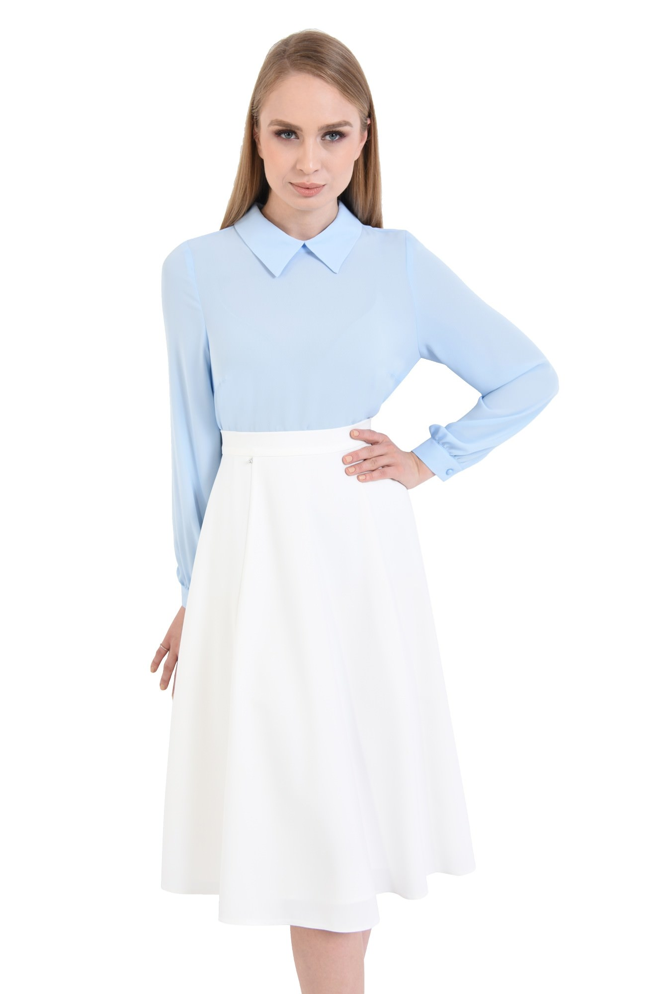 0 - bluza casual, din sifon, bleu