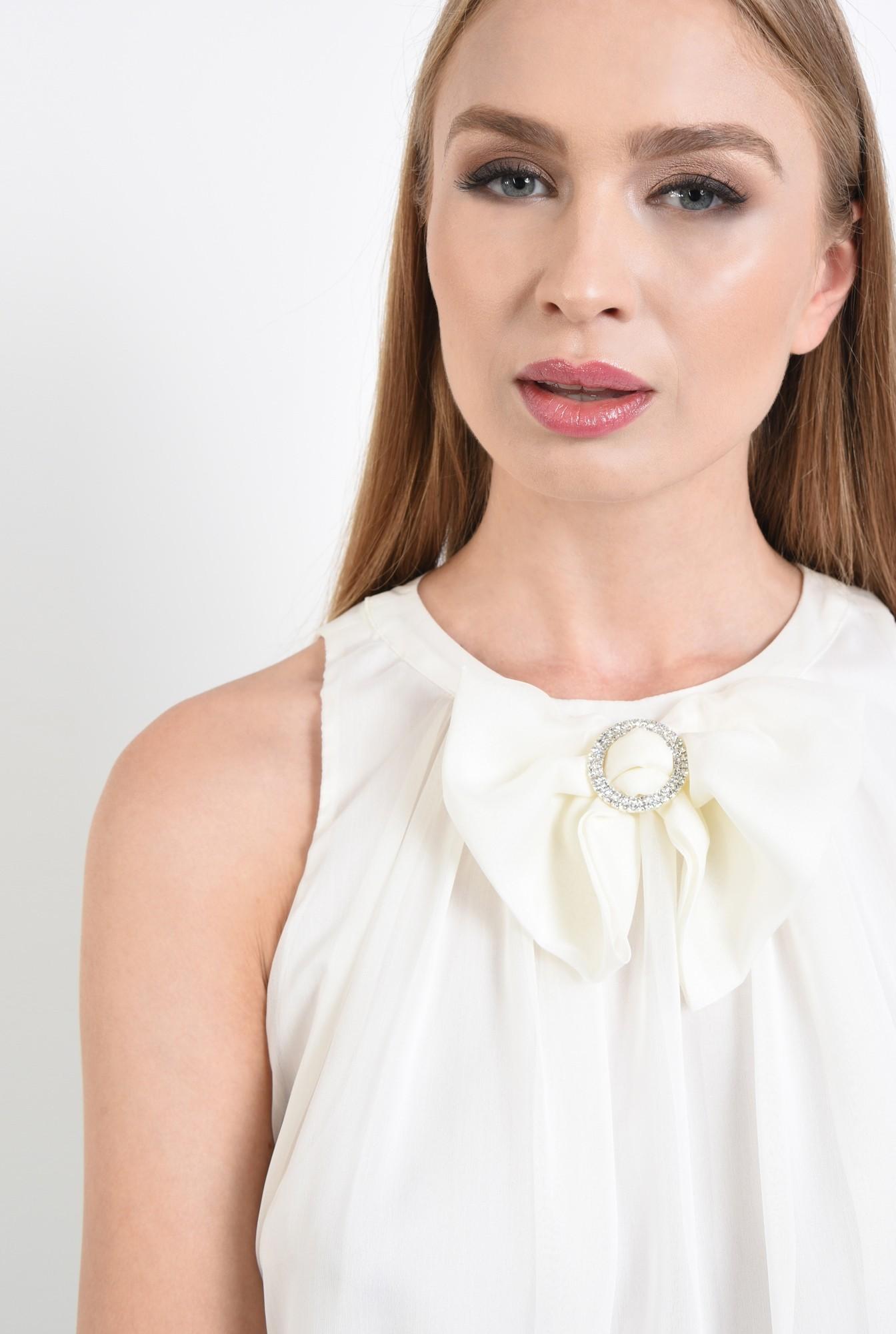 2 - bluza eleganta, din sifon, cu funda, strasuri, alb
