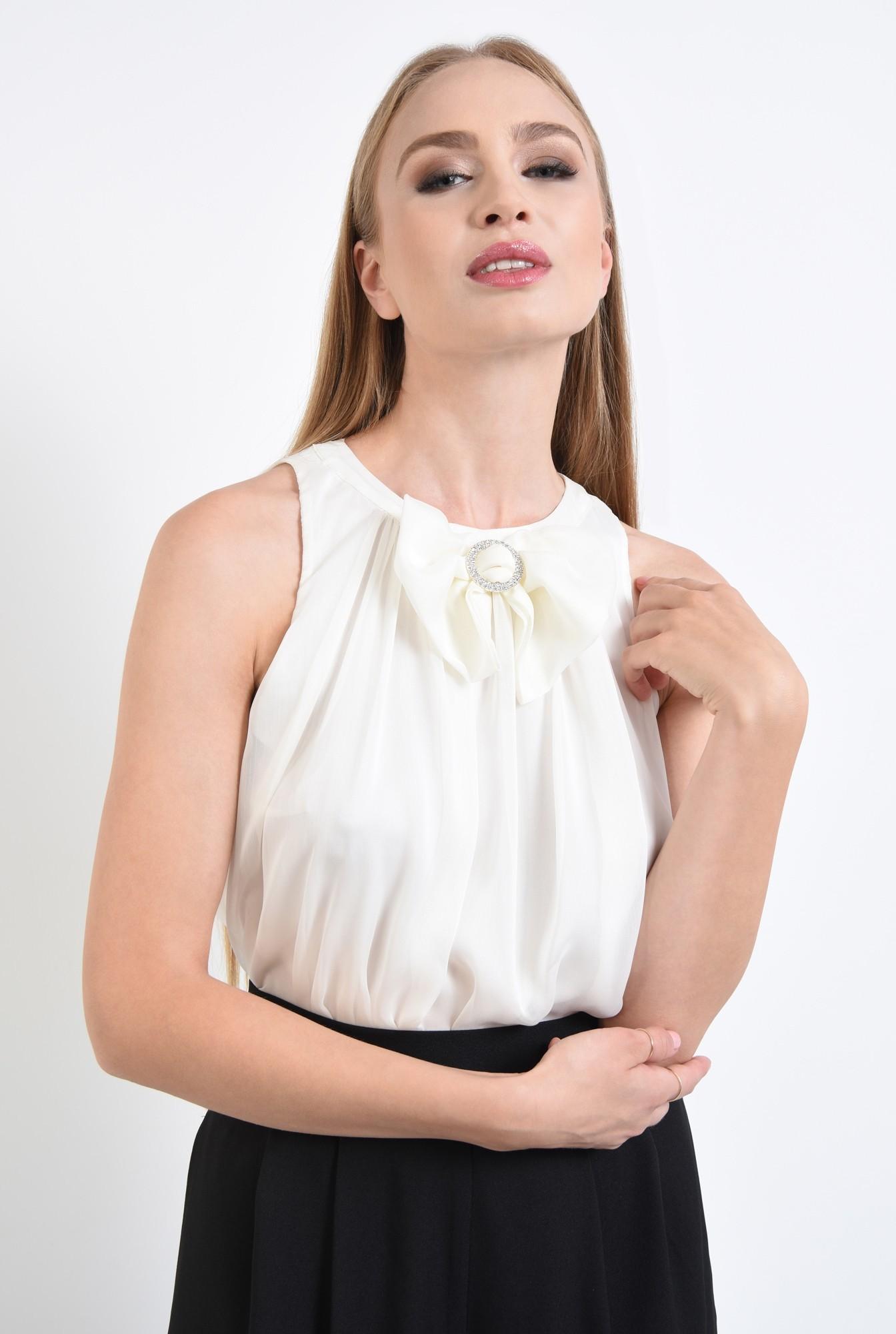 3 - bluza eleganta, din sifon, cu funda, strasuri, alb