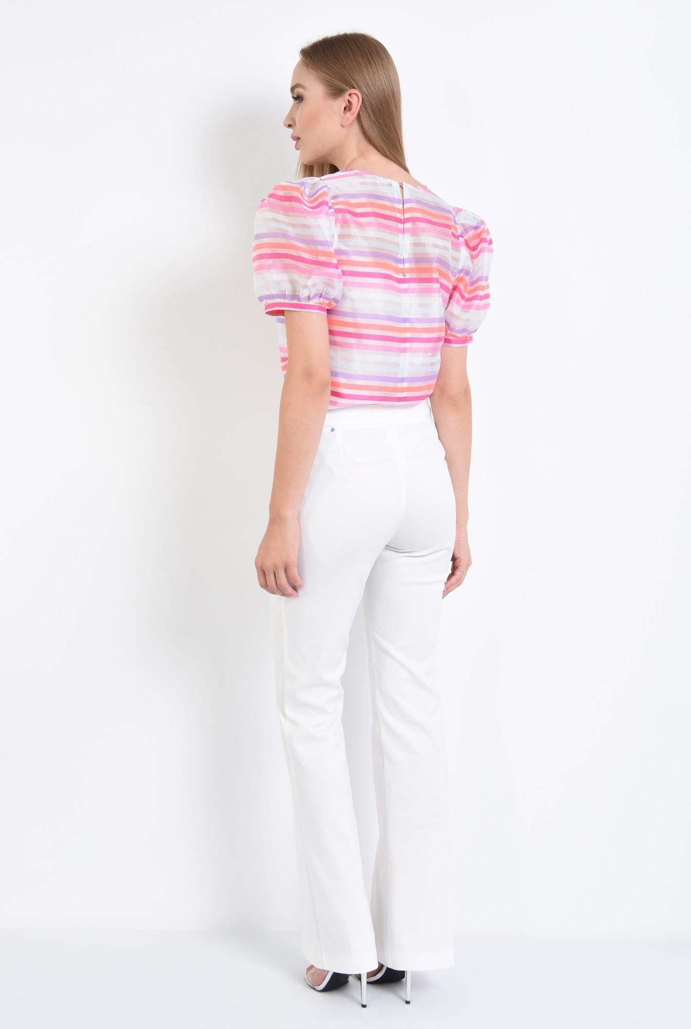 1 - bluza de ocazie, imprimeu dungi, roz, alb, bluze online