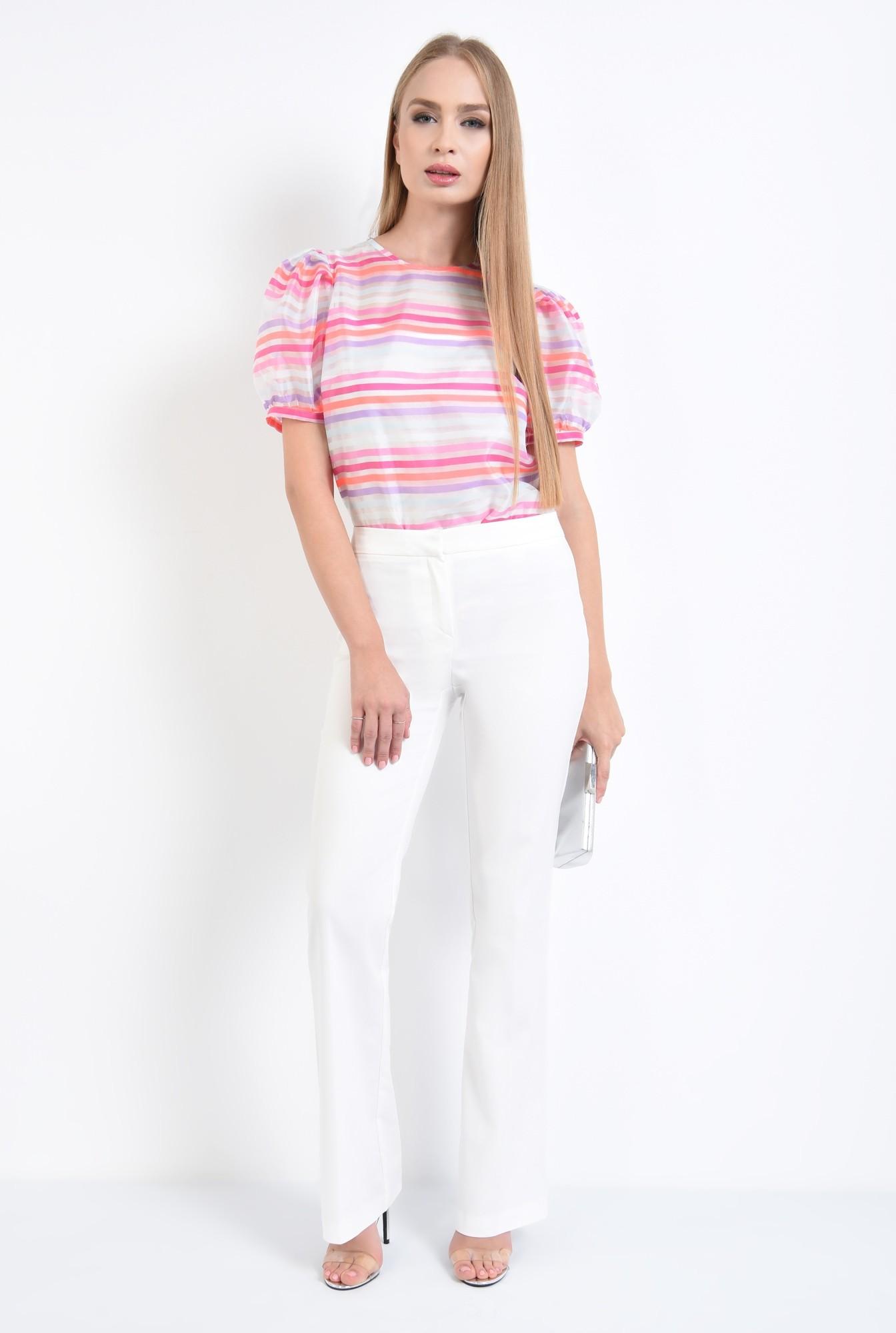 3 - bluza de ocazie, imprimeu dungi, roz, alb, bluze online
