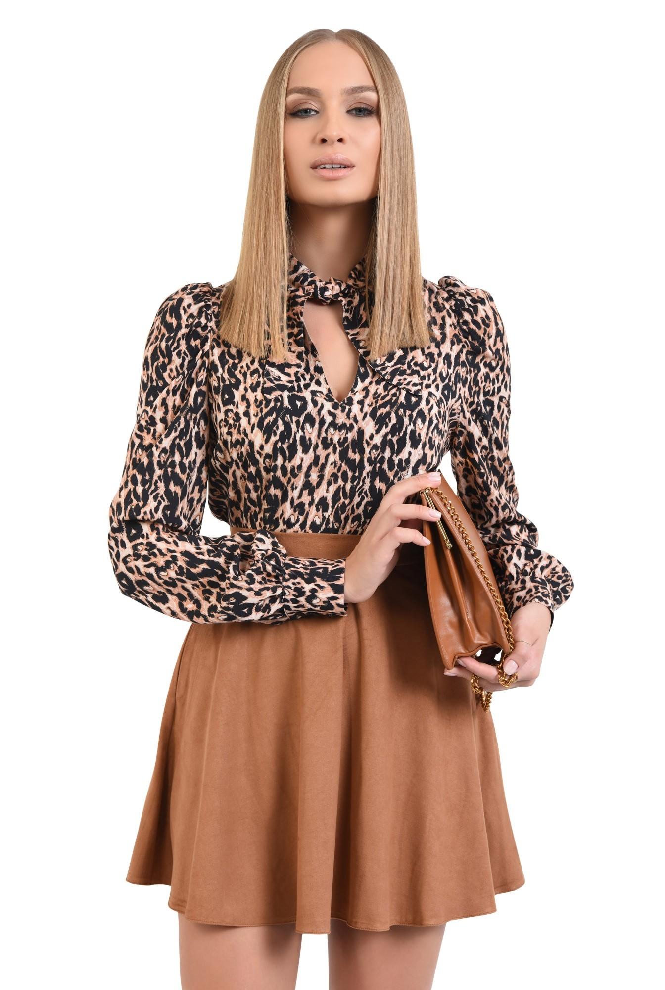 0 - bluza animal print, leopard, imprimeu, maneci lungi