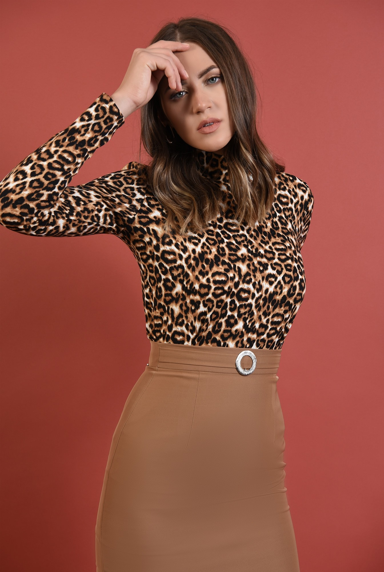 0 - helanca leopard, Poema, tesatura stretch, maneci lungi, motive animaliere