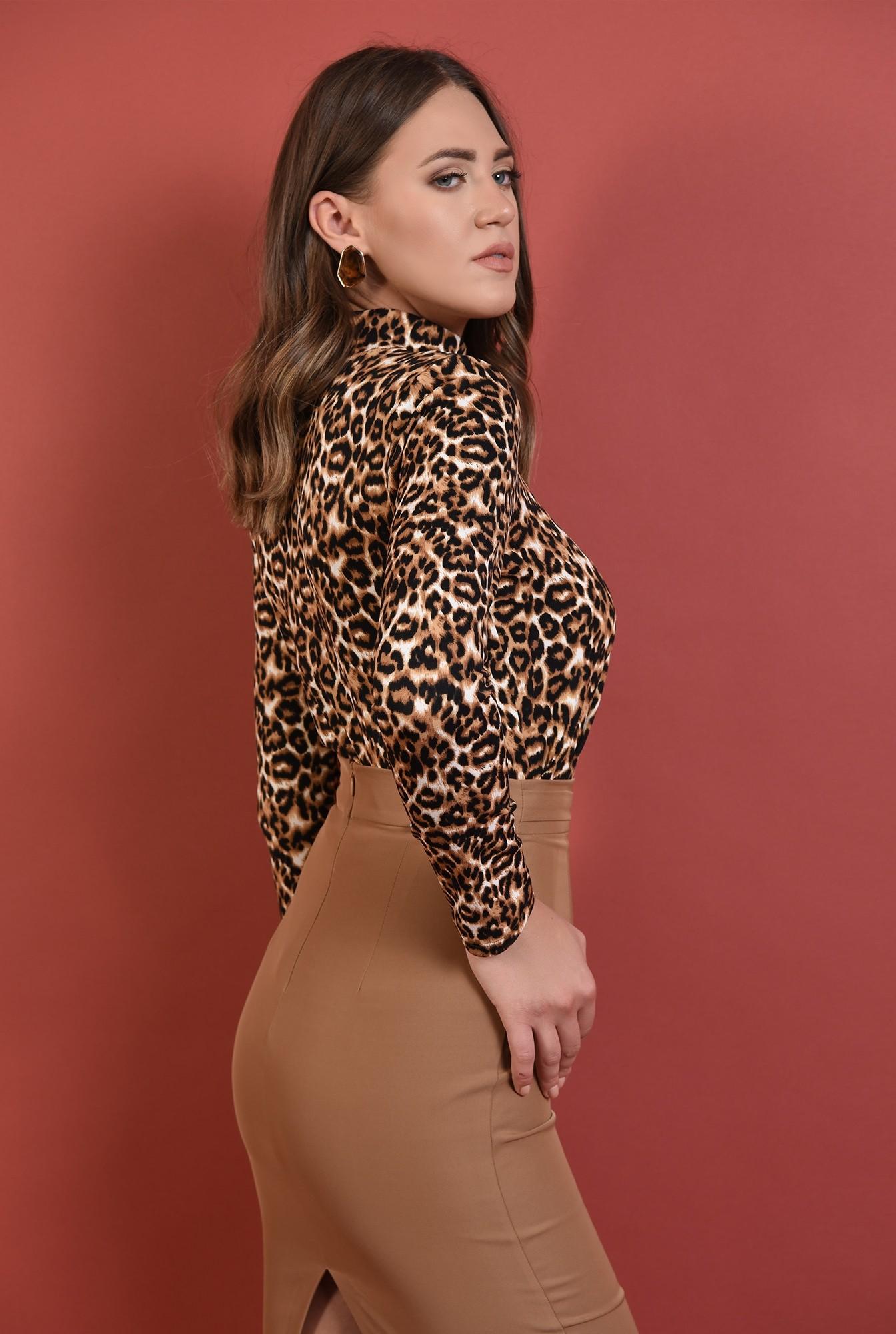 1 - helanca leopard, Poema, tesatura stretch, maneci lungi, motive animaliere