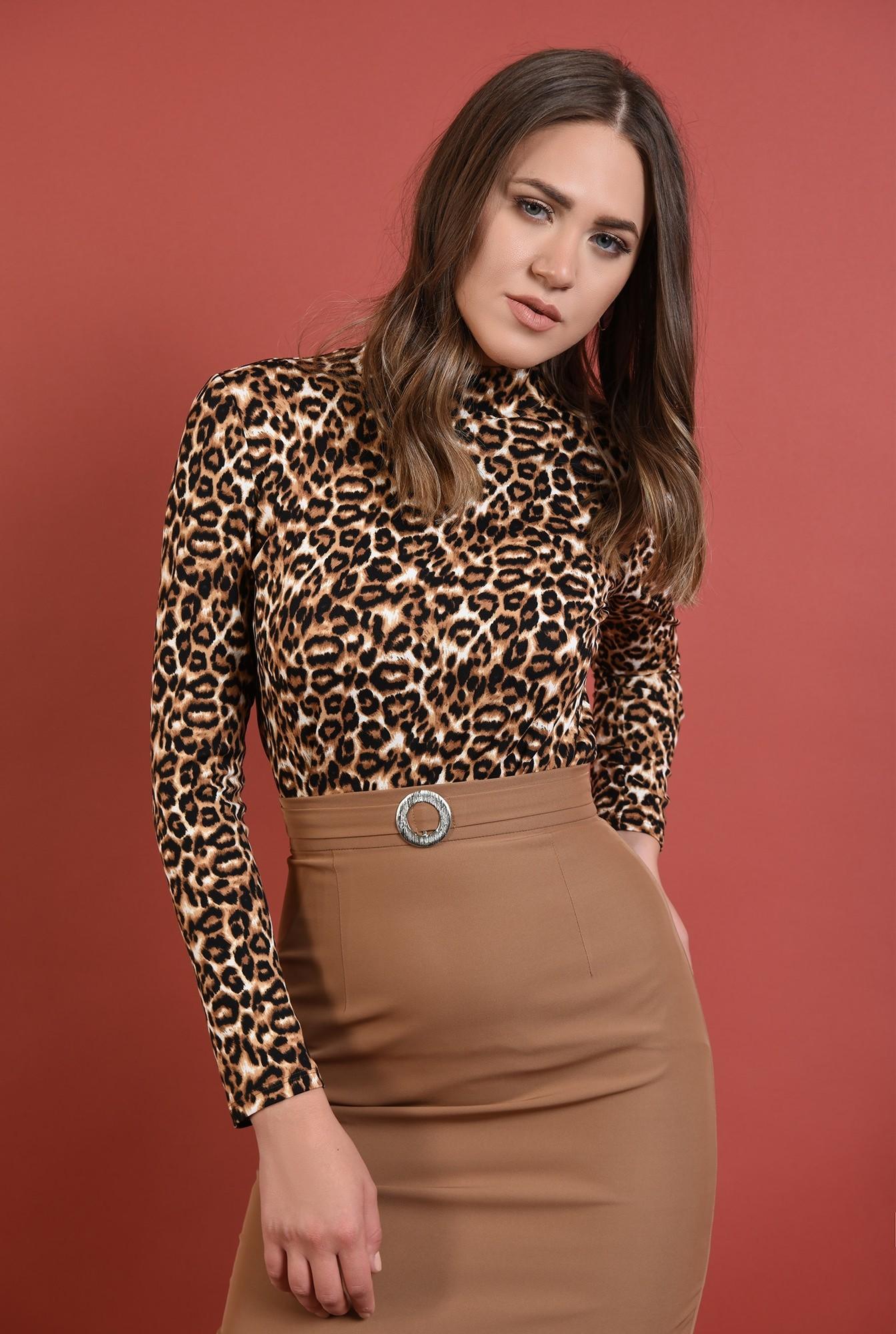 2 - helanca leopard, Poema, tesatura stretch, maneci lungi, motive animaliere