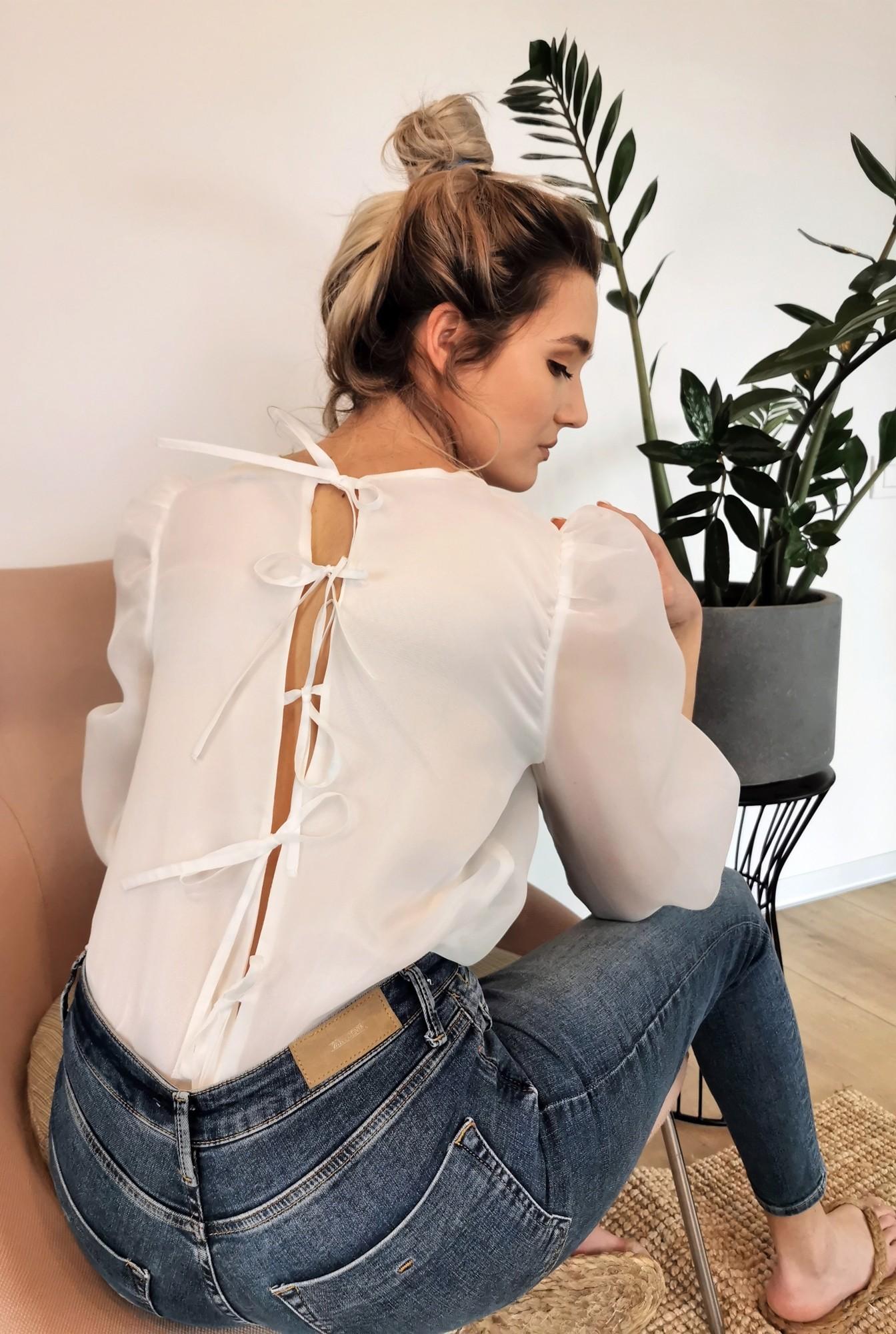 1 - 360 - bluza eleganta, de ocazie, din organza, cu maneci bufante, mansete volan