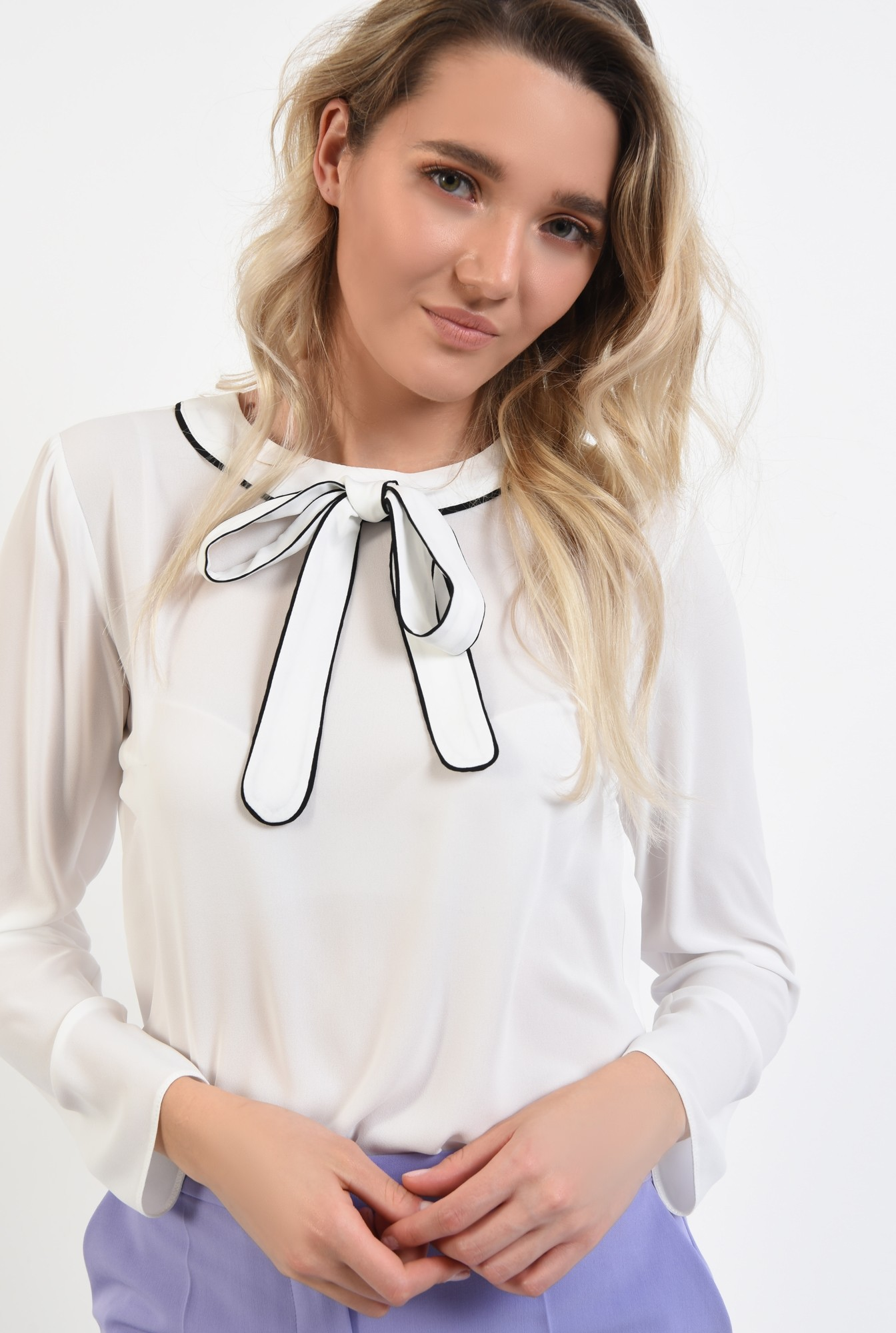 2 - bluza office, maneci lungi, funda cu borduri contrastante, alb, bluza de primavara