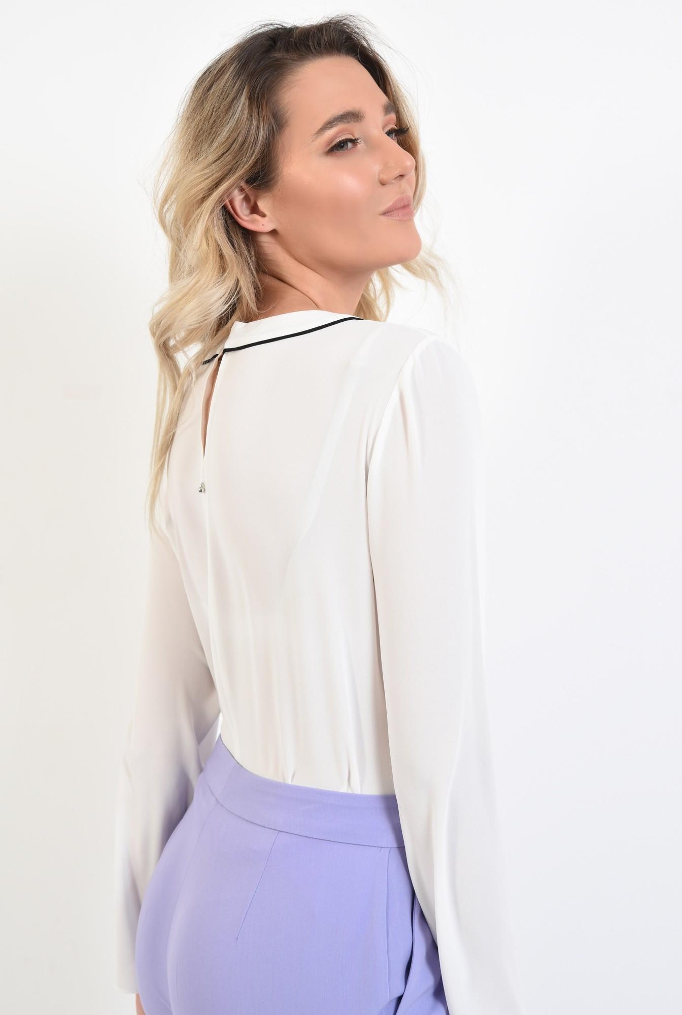 1 - bluza office, maneci lungi, funda cu borduri contrastante, alb, bluza de primavara