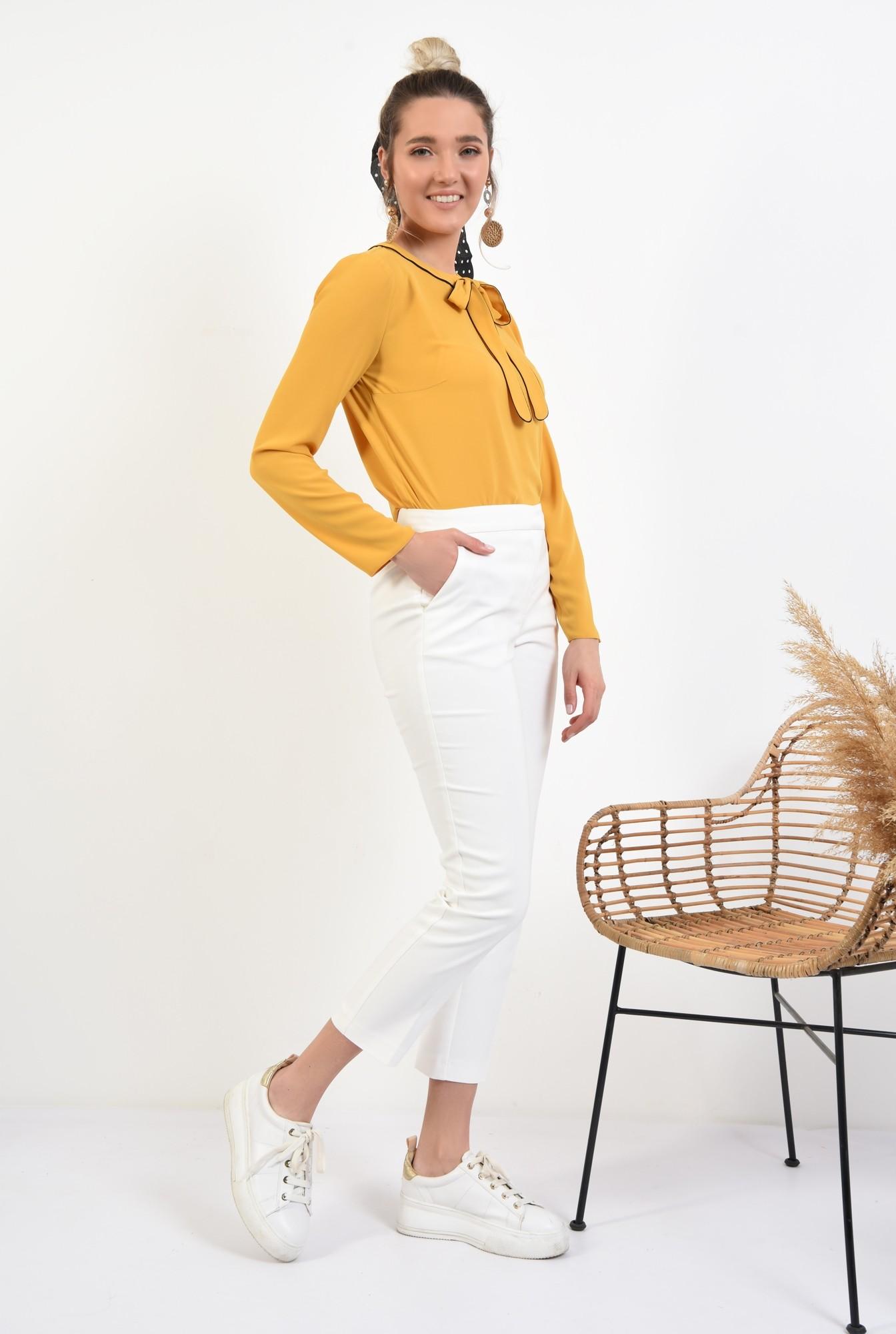 3 - bluza office, maneci lungi, funda cu borduri contrastante, mustar, bluza de primavara