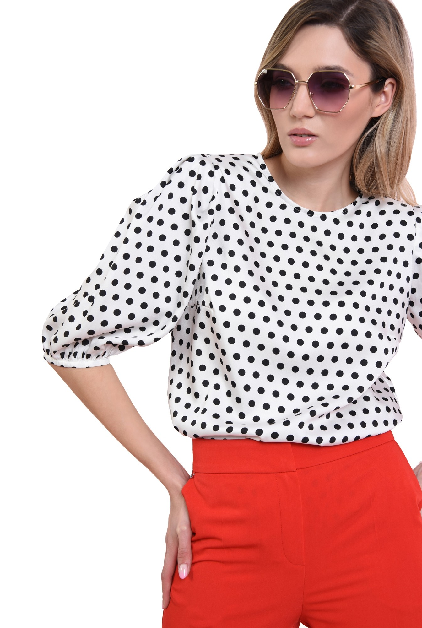 3 - bluza casual, din satin, cu buline negre