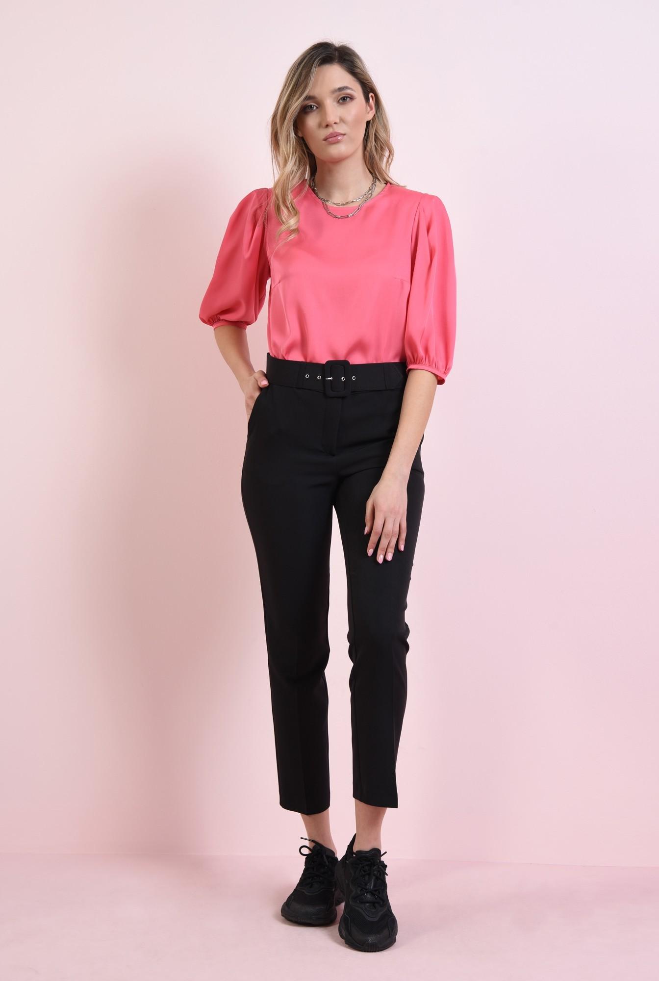0 - bluza matasoasa, roz, cu maneci bufante