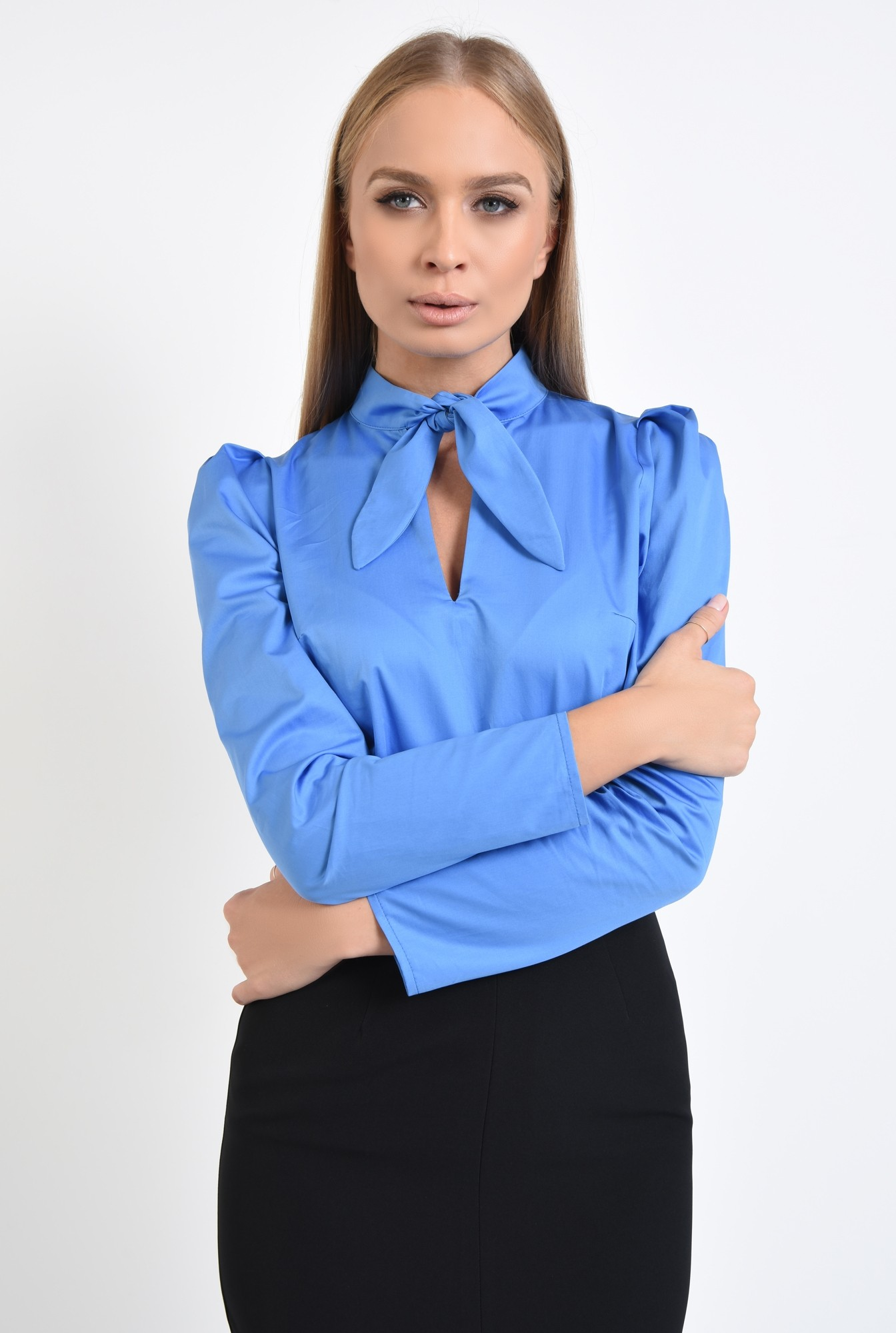 0 - 360 - bluza din bumbac, albastra, maneci lungi