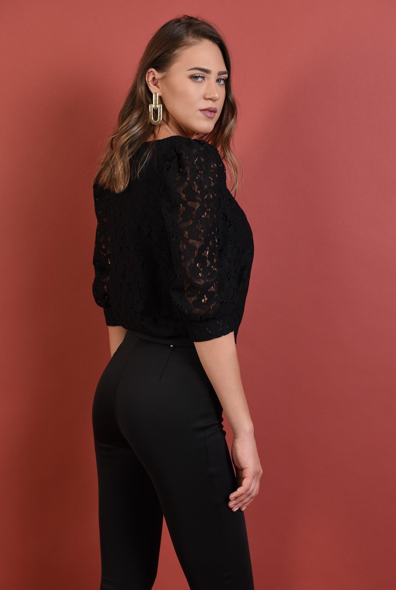 1 - bluza neagra, eleganta, cu maneci bufante, decolteu anchior