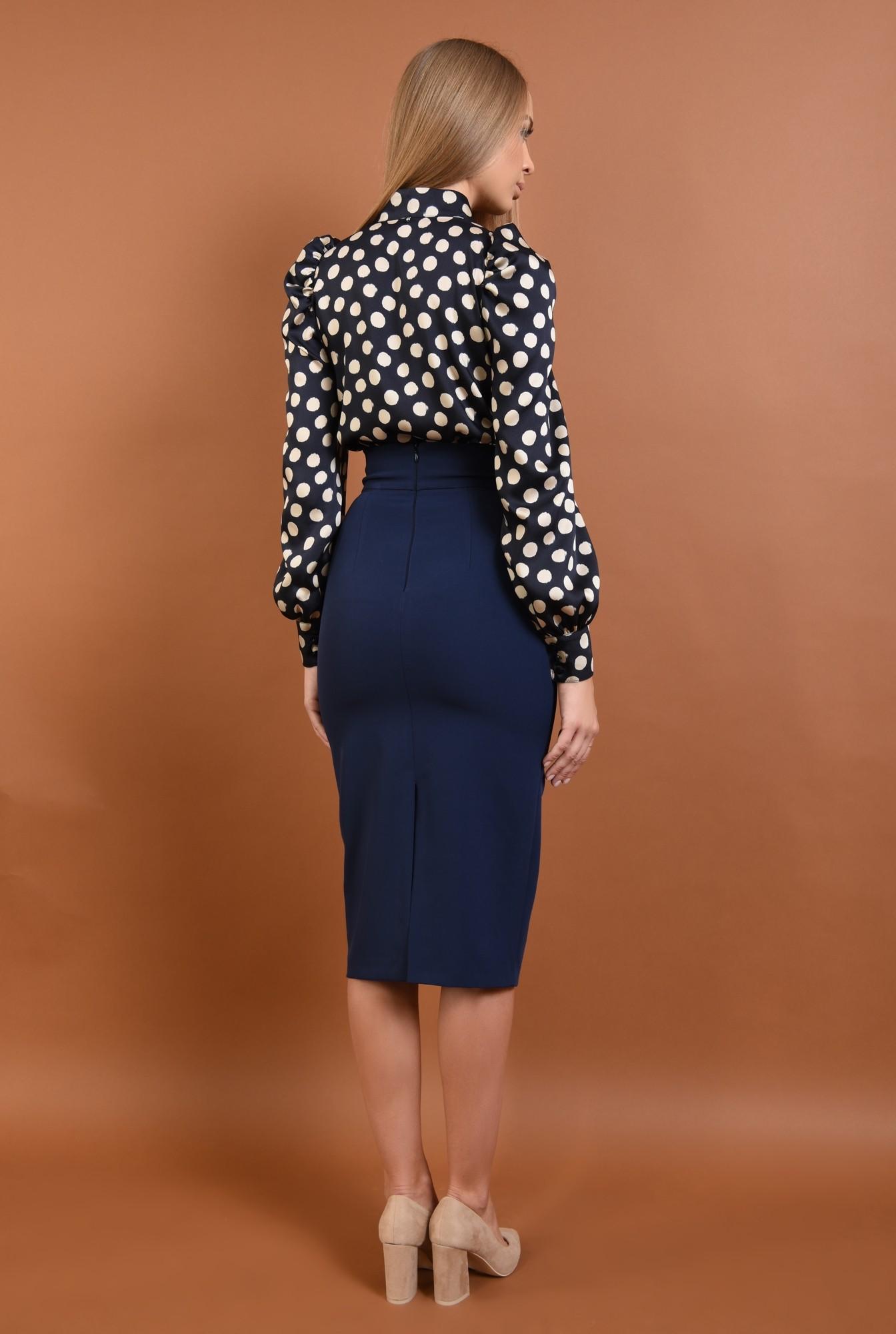 1 - bluza casual, cu buline, satin, bleumarin, alb