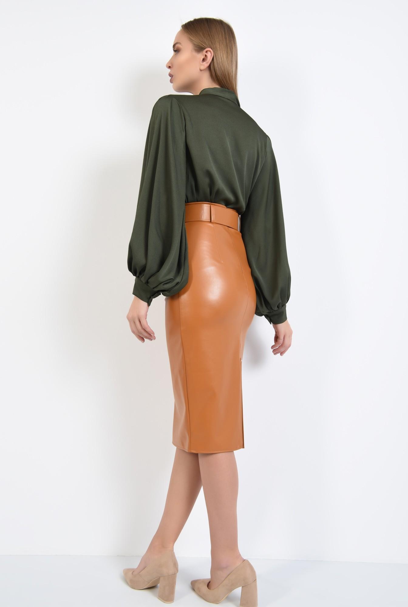 1 - 360 - bluza cu maneci bufante, funda la guler, verde kaki, tesatura fluida
