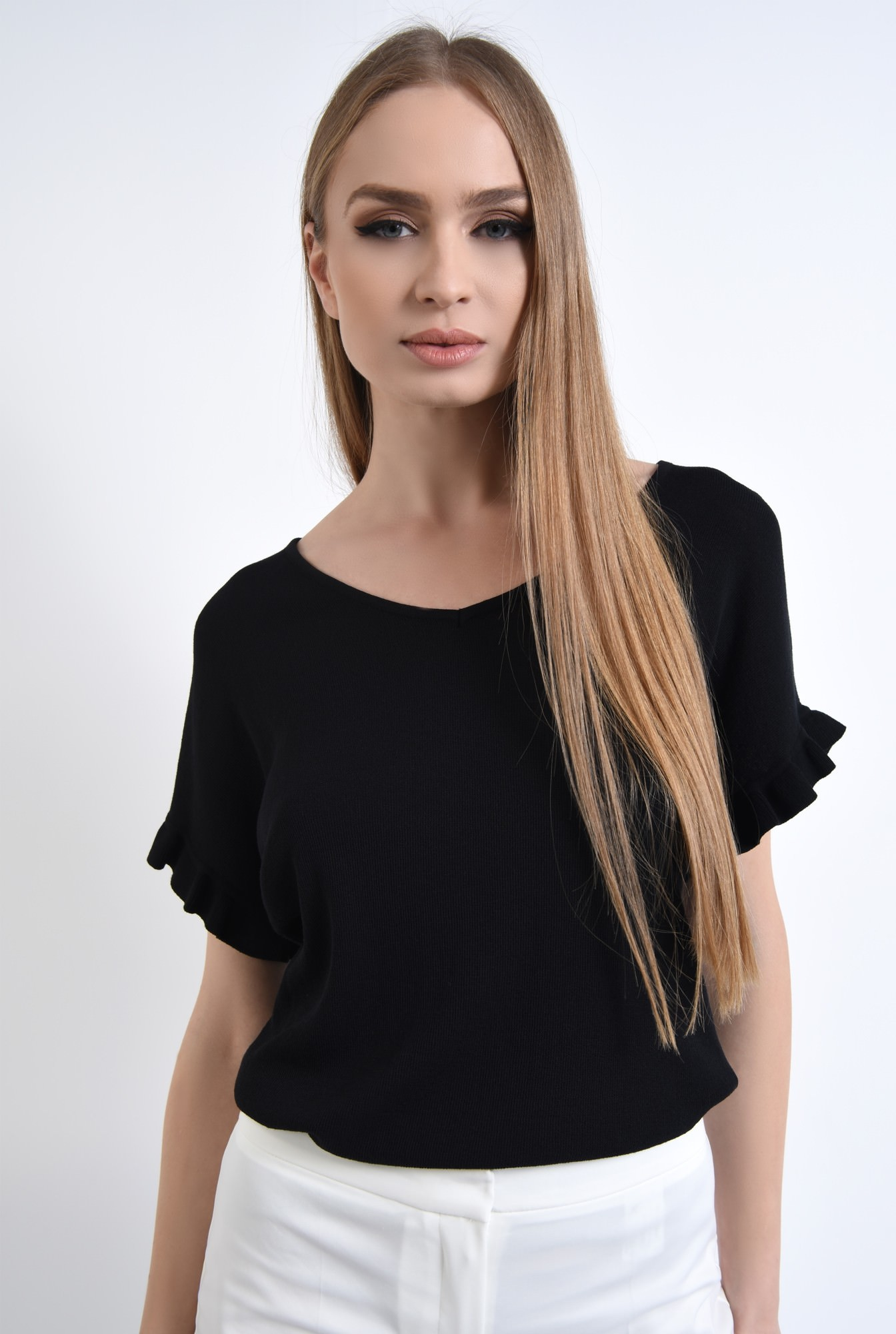 2 - Bluza casual, tricotaj, negru