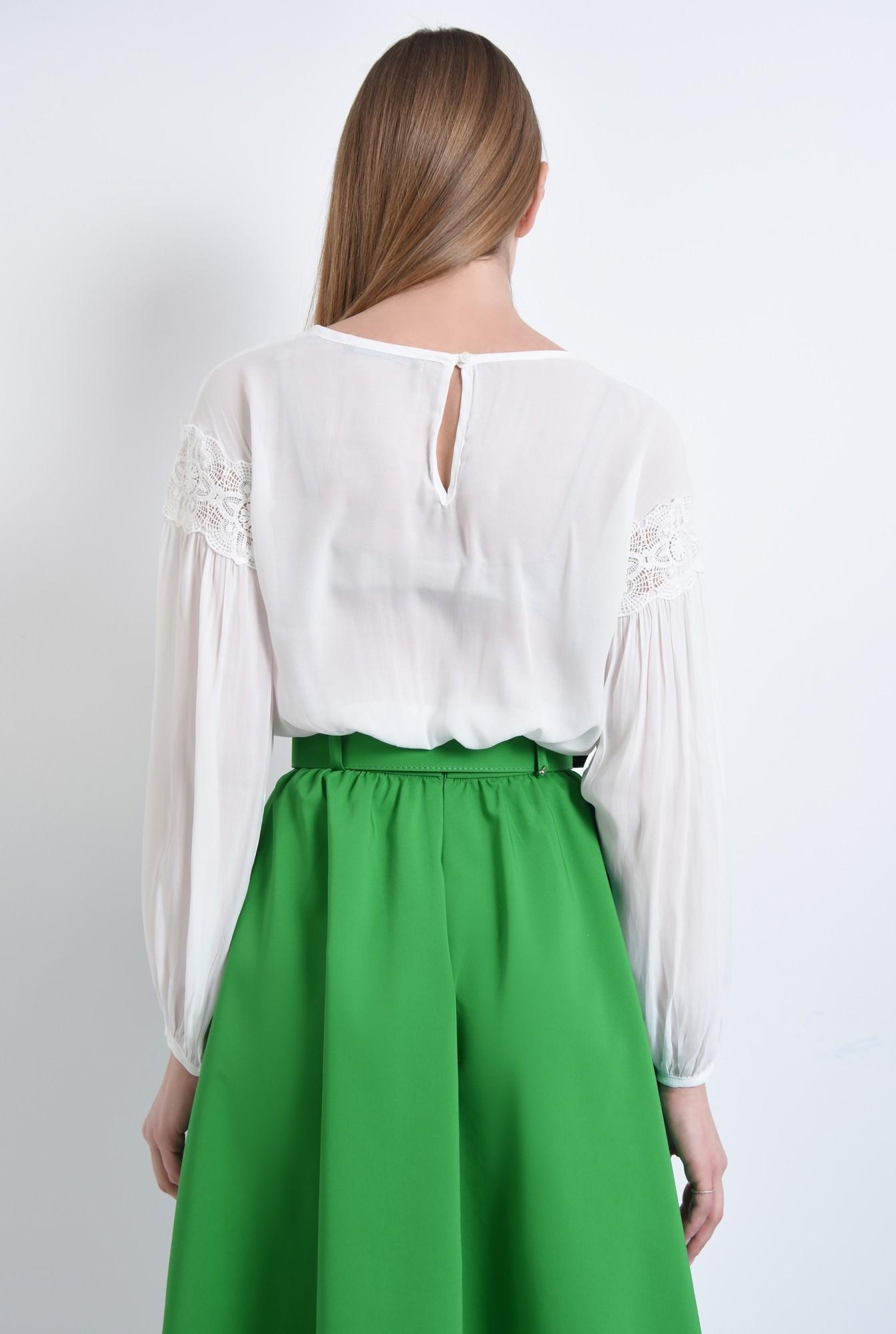 1 - Bluza casual, ie, alb, maneci bufante