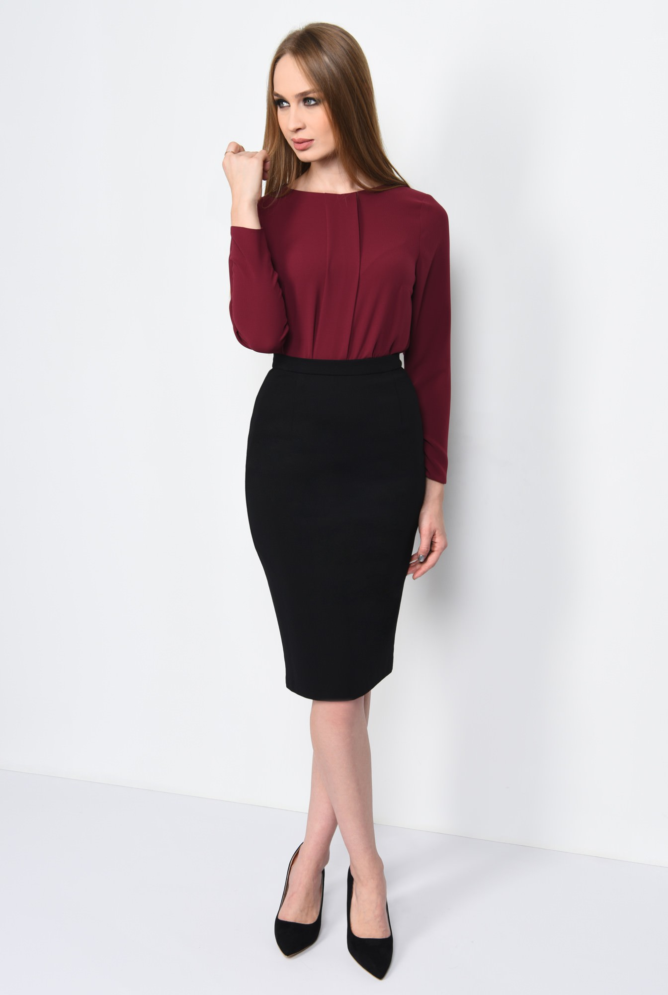 3 - BLUZA OFFICE DREAPTA BL 162-BURGUNDY