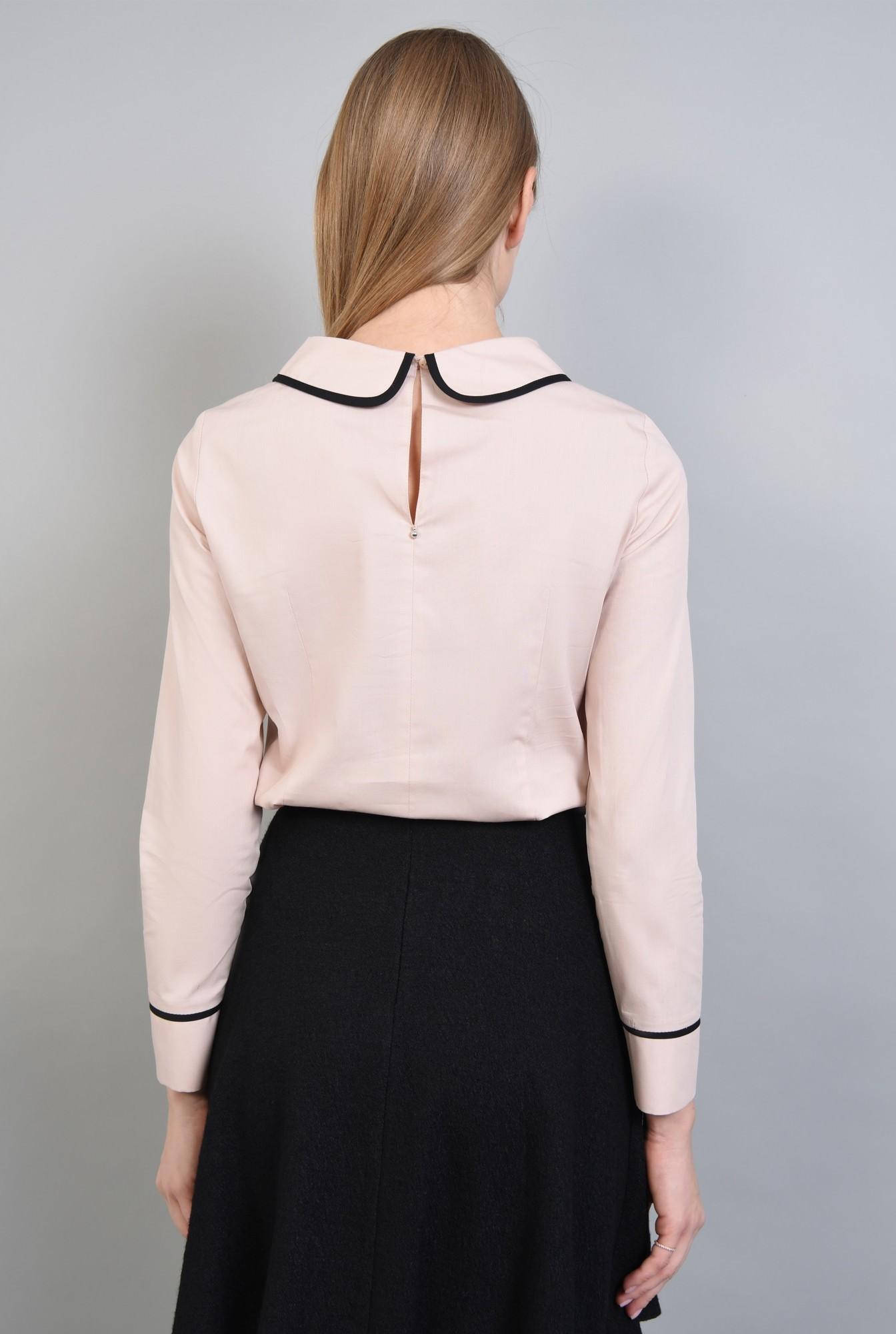 1 - Bluza casual, negru, butoniera