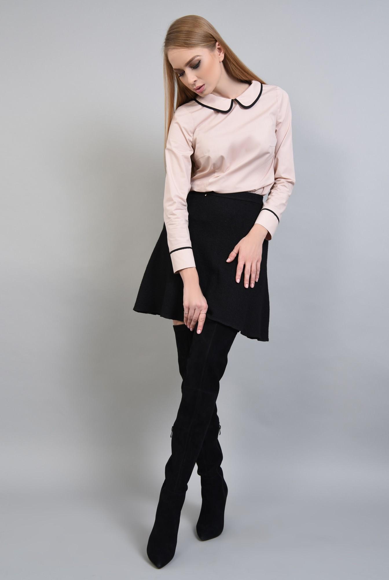 0 - Bluza casual, negru, butoniera
