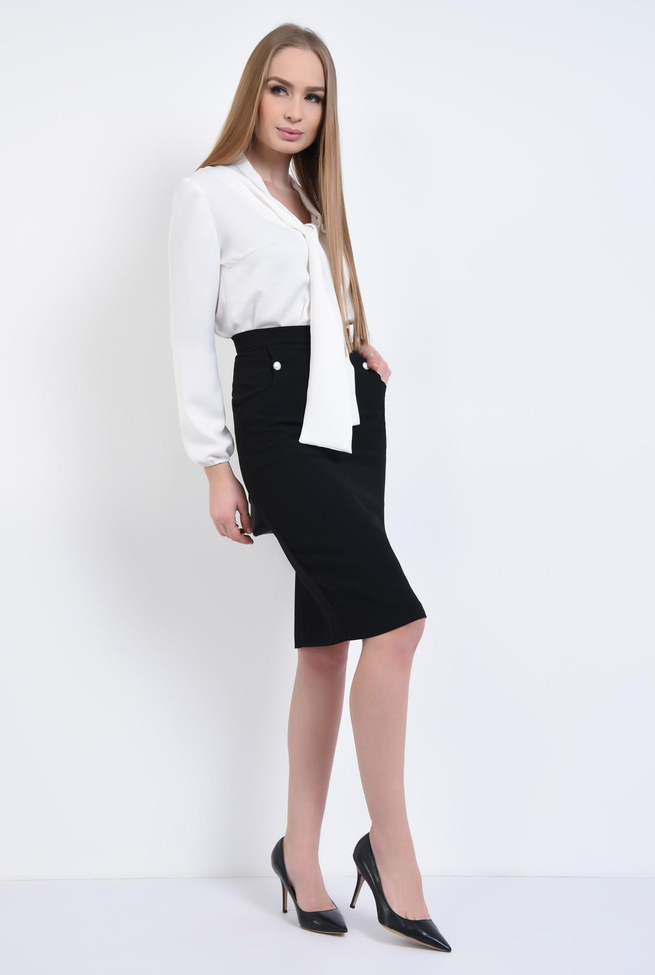 3 - Bluza office, alb, maneci lungi