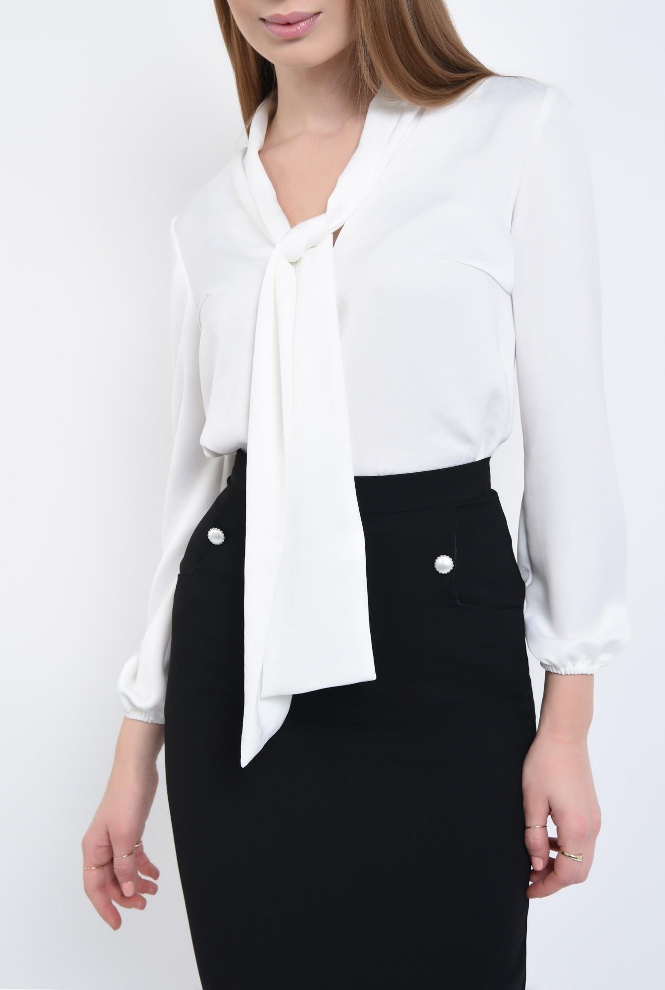 2 - Bluza office, alb, maneci lungi
