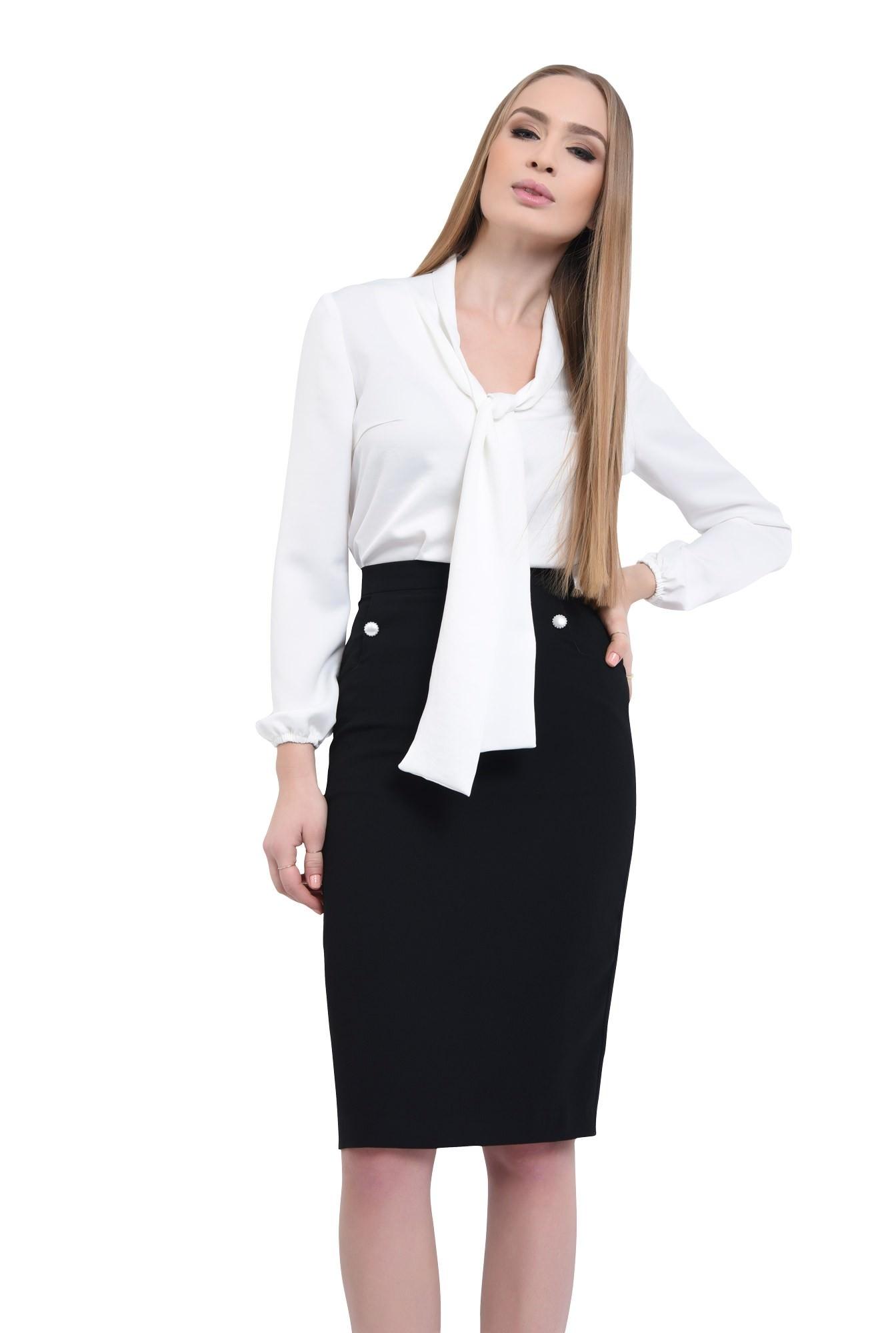 0 - Bluza office, alb, maneci lungi
