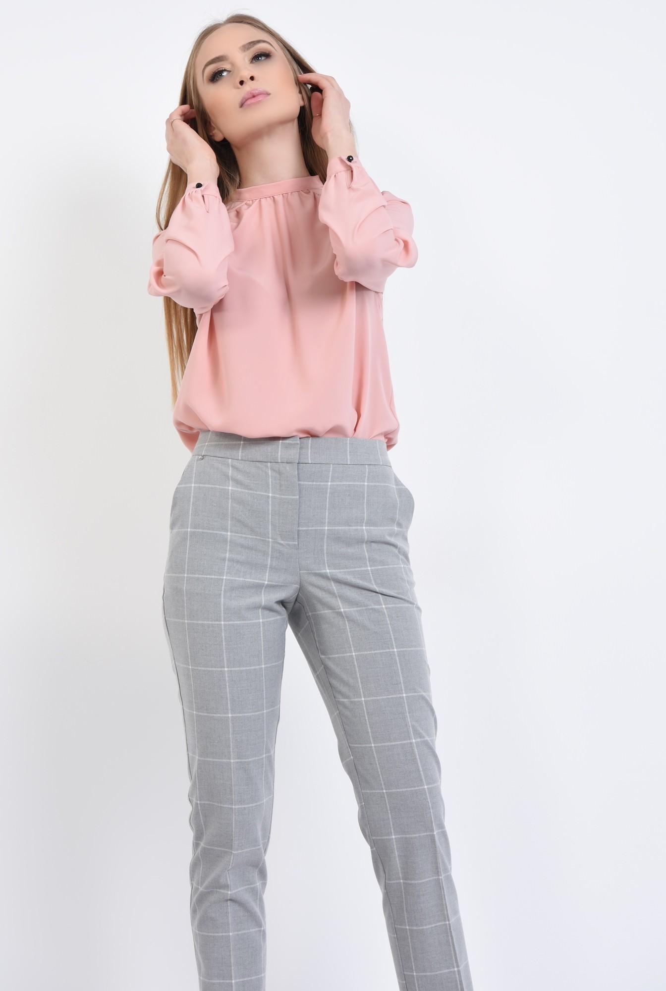 0 - bluza roz, maneci bufante, cu mansete