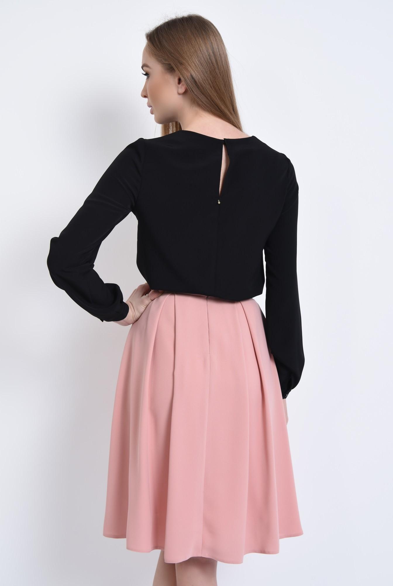 1 - Bluza din sifon, contrast, maneci lungi