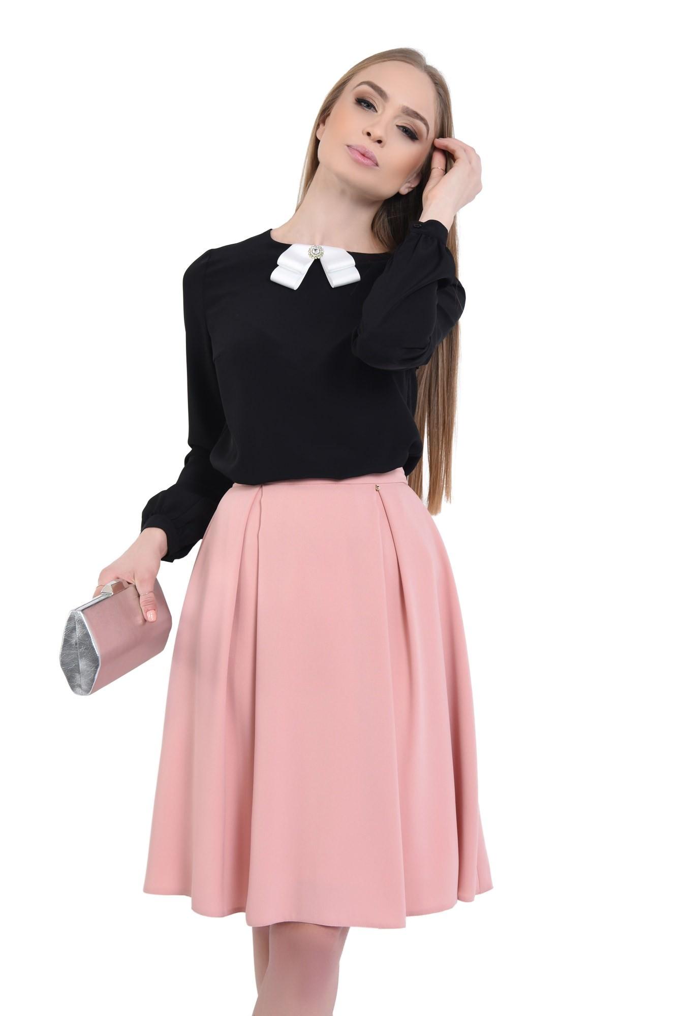 2 - Bluza din sifon, contrast, maneci lungi