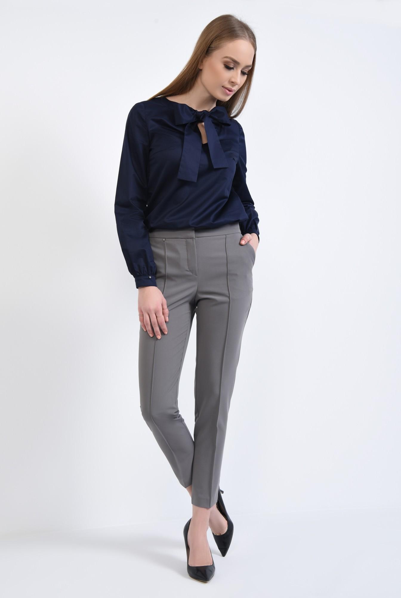 2 - Bluza casual, albastru, croi drept, bumbac, funda