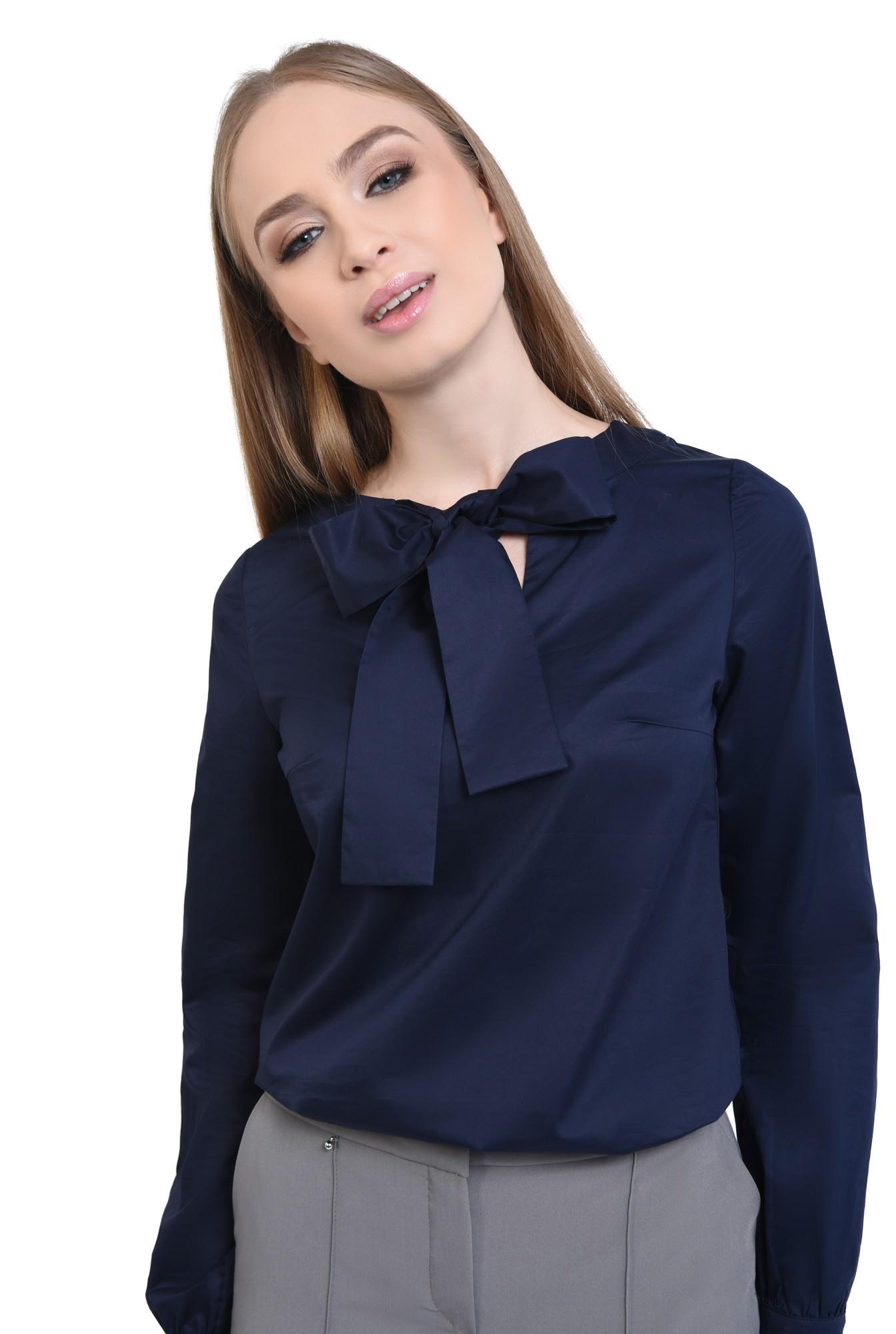 3 - Bluza casual, albastru, croi drept, bumbac, funda