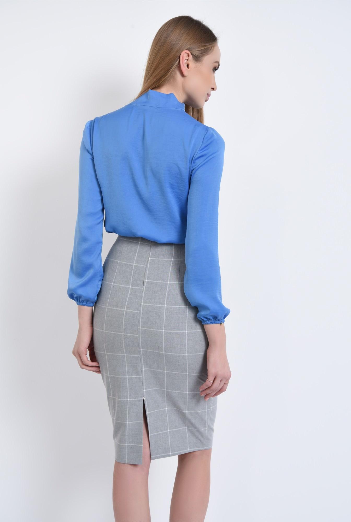 1 - bluza office, bleu, satinata, maneci lungi