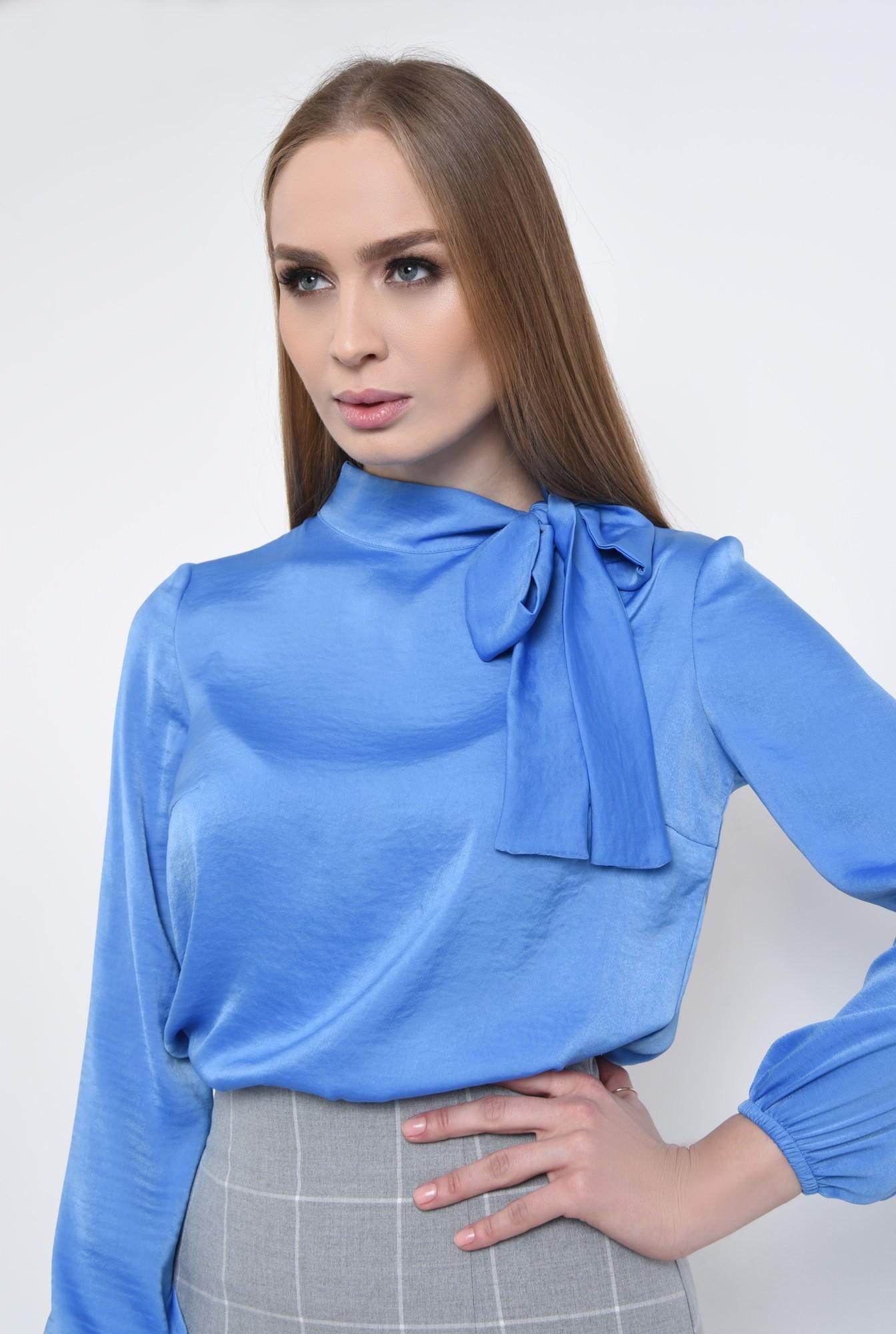 2 - bluza office, bleu, satinata, maneci lungi