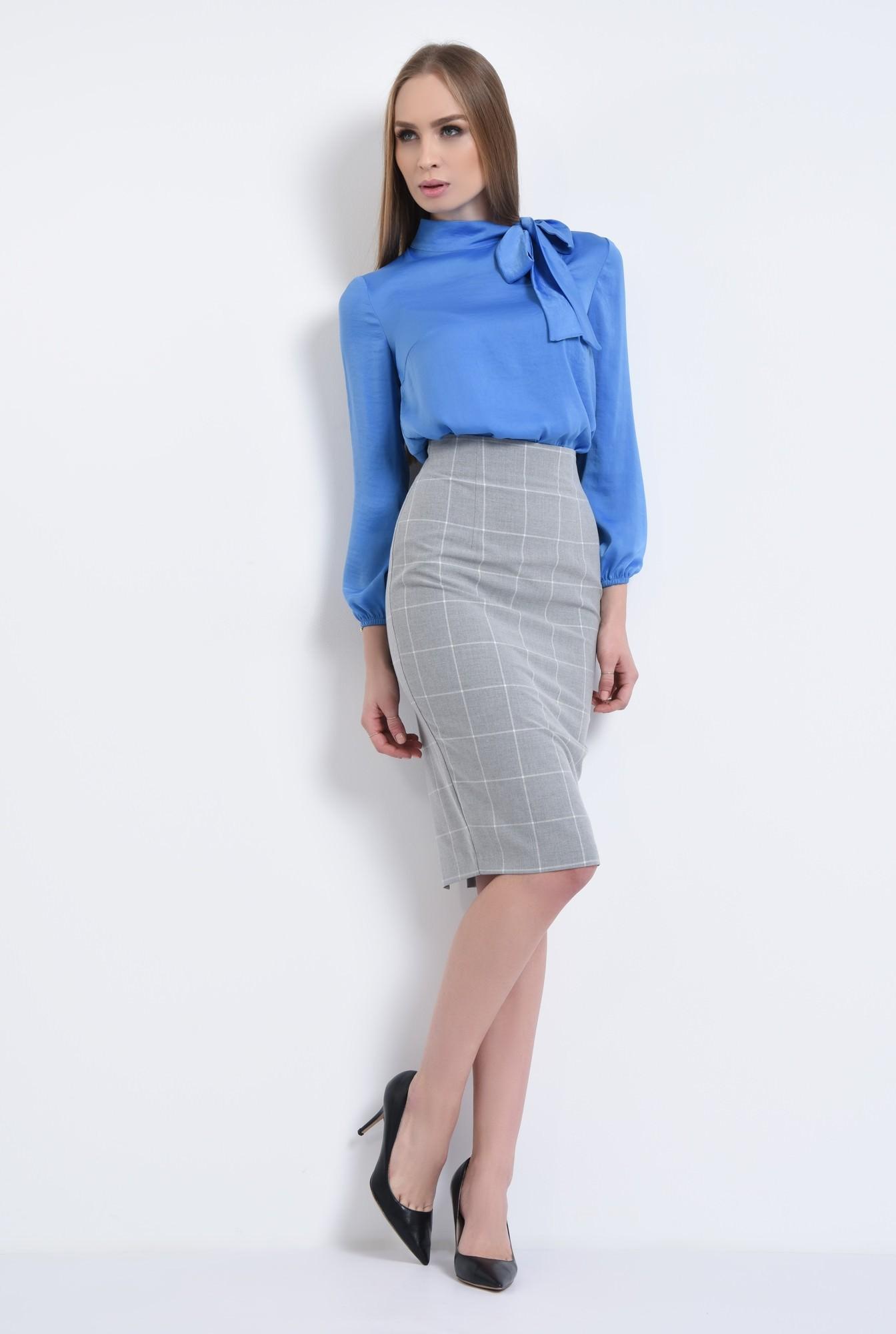 3 - bluza office, bleu, satinata, maneci lungi