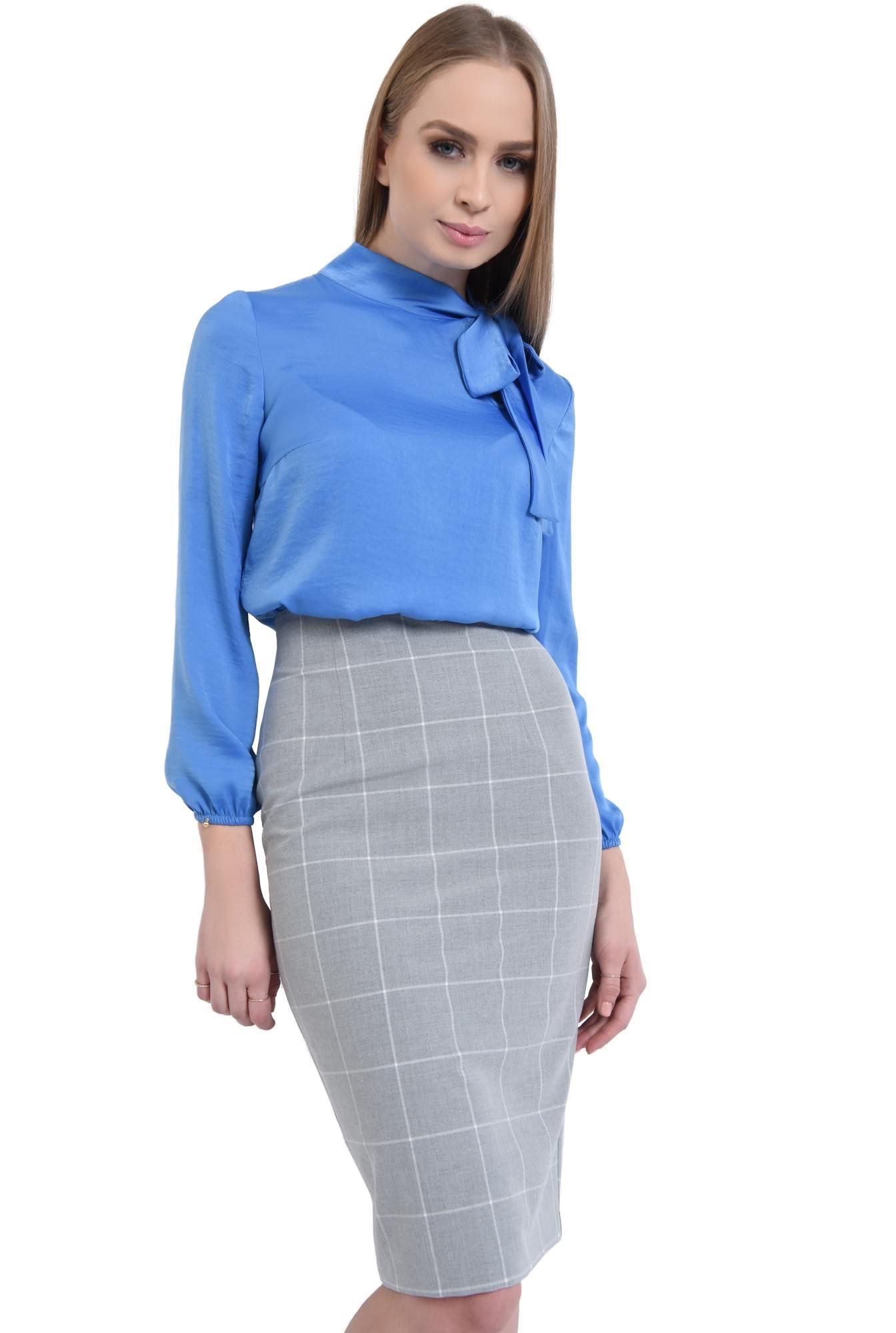 0 - bluza office, bleu, satinata, maneci lungi