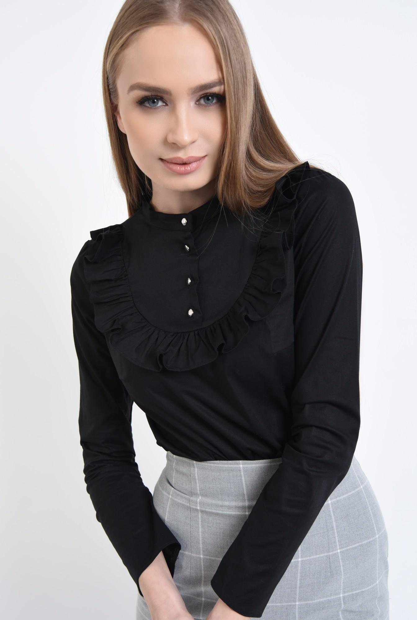 2 - Bluza casual, negru, bumbac