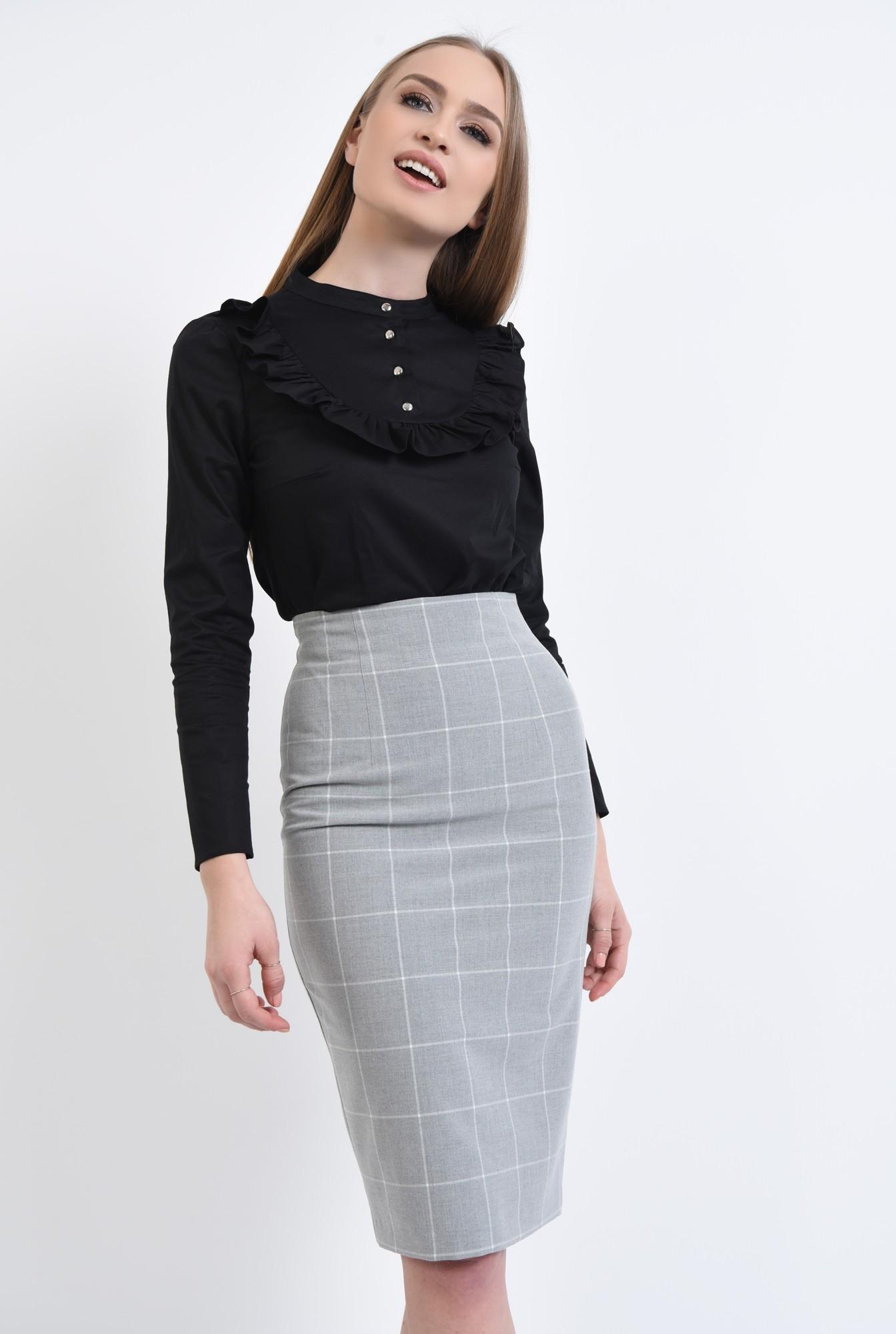 3 - Bluza casual, negru, bumbac
