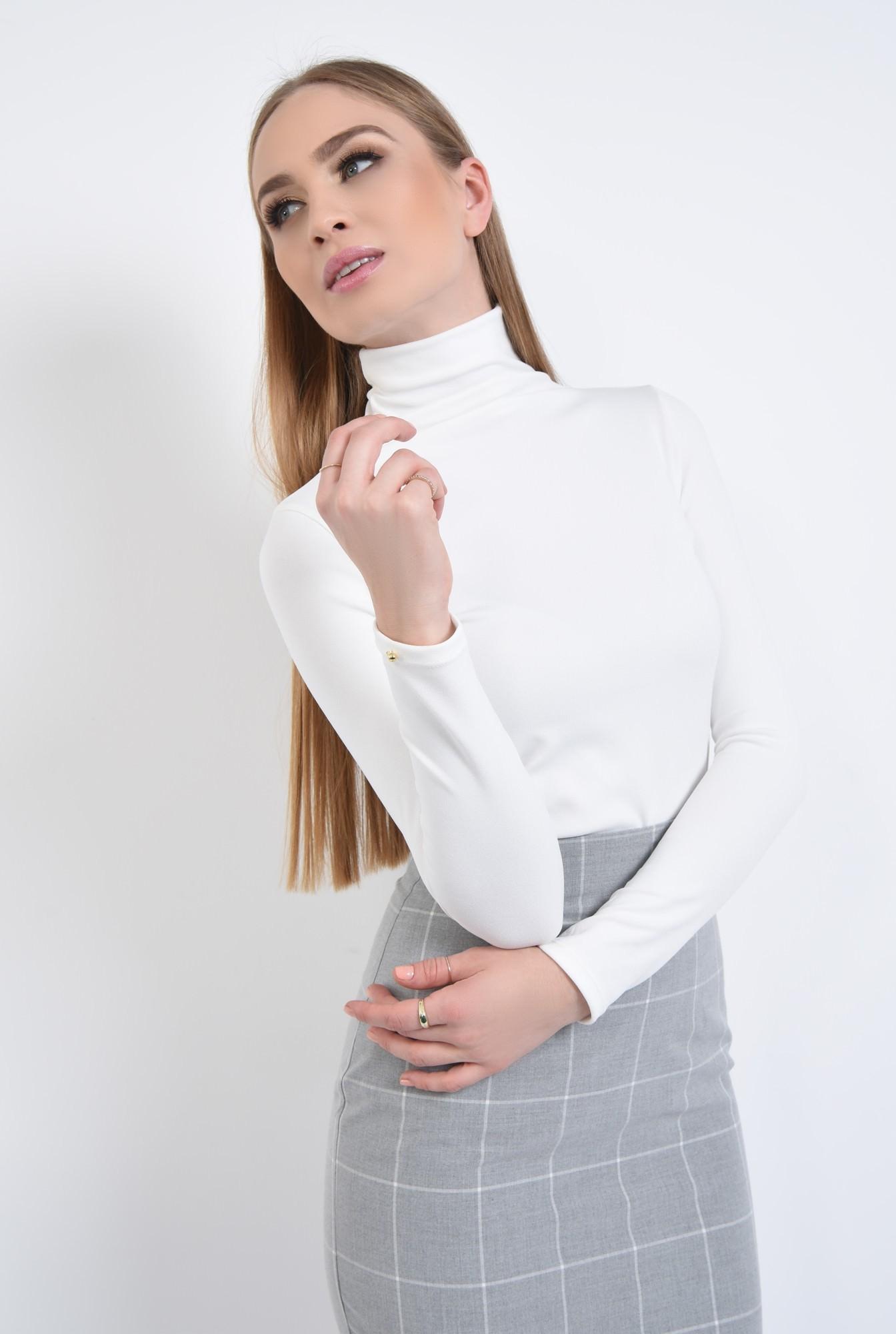 2 - Bluza casual, alb, maneci lungi