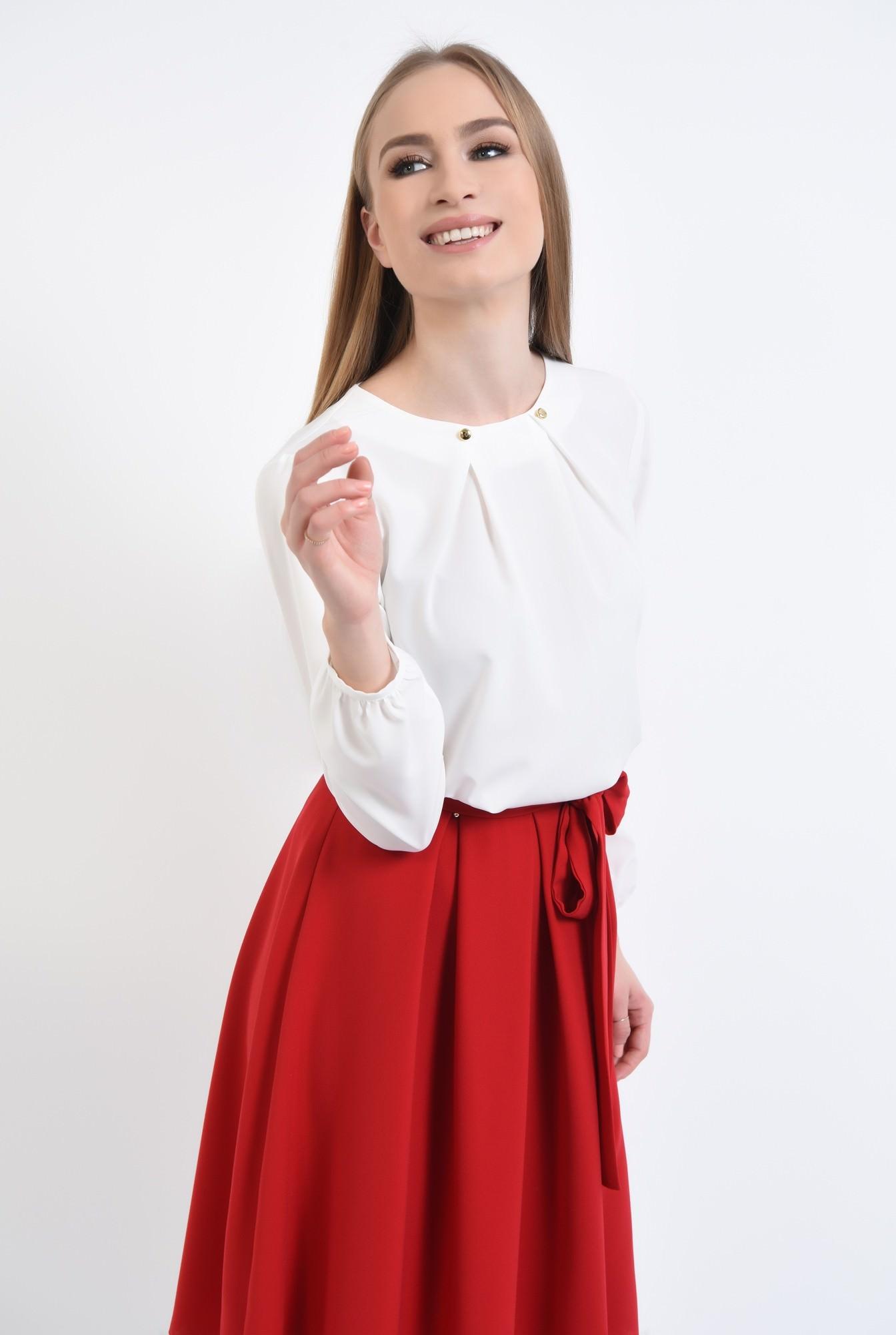 0 - Bluza eleganta, decolteu rotund, ivoar