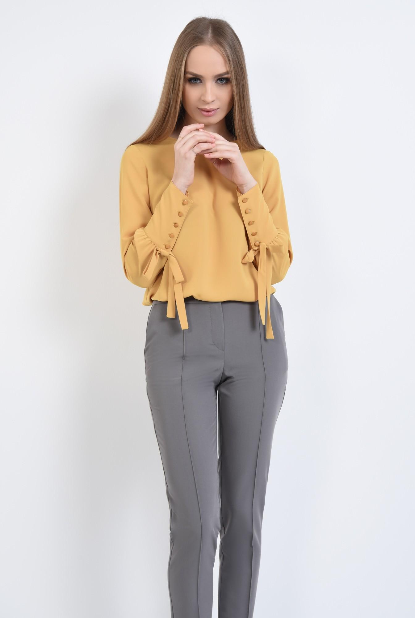 0 - Bluza eleganta, croi drept, maneci bufante