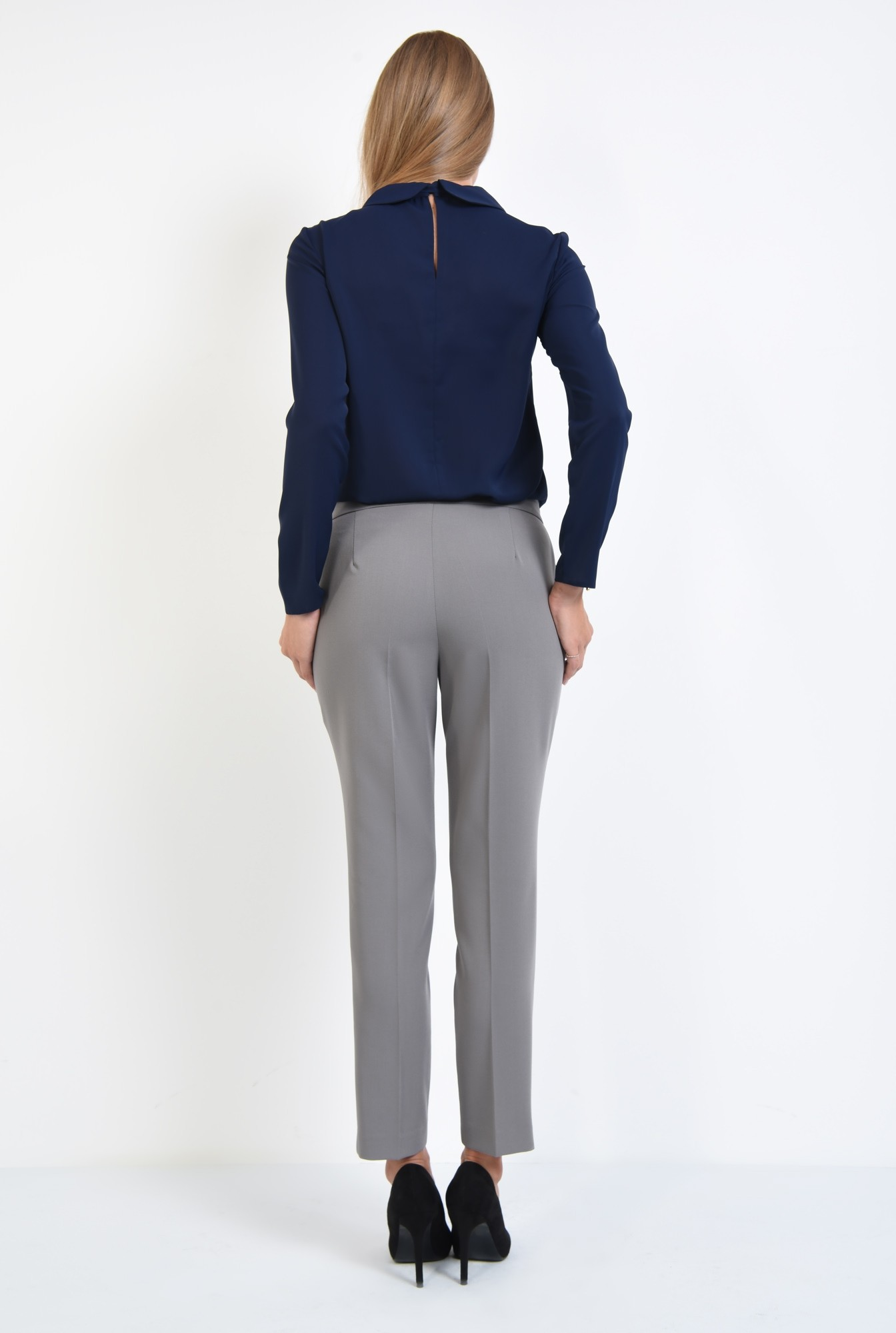1 - 360 - bluza office, cu funda, guler rotunjit, bluza de birou, bleumarin