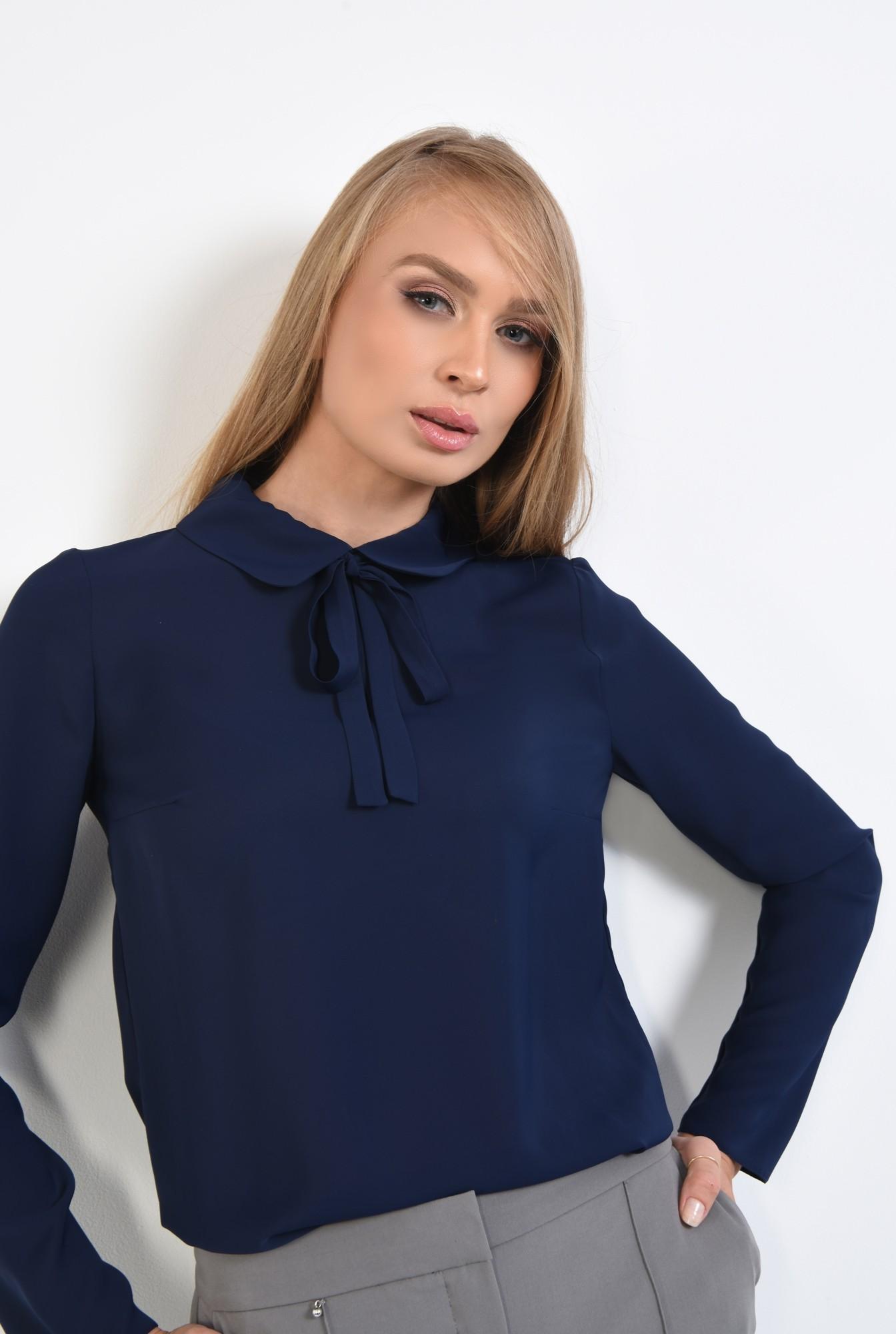2 - 360 - bluza office, cu funda, guler rotunjit, bluza de birou, bleumarin