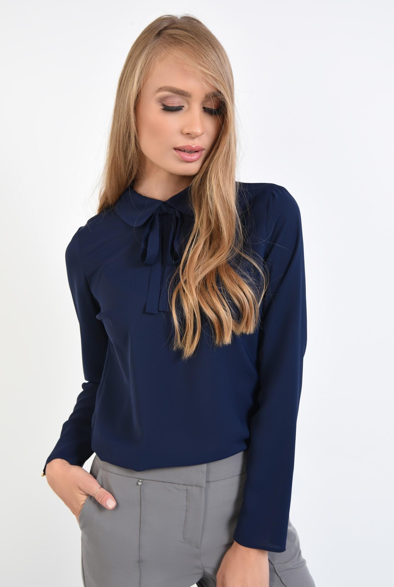 0 - 360 - bluza office, cu funda, guler rotunjit, bluza de birou, bleumarin