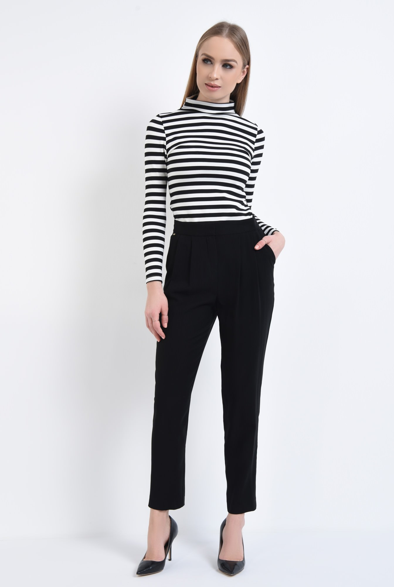 3 - Bluza casual, dungi, alb-negru